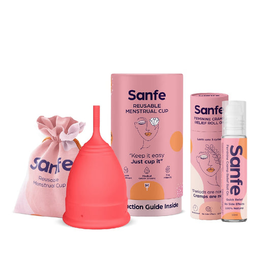 Miracle Period Set  - Menstrual Cups + Feminine Cramp Relief Roll On