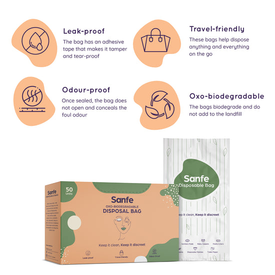 Sanfe Squeaky Clean Kit - Oxo-biodegradable Disposal Bags (50 units), 100% Organic Cotton Rash-free Panty Liners (25 units)
