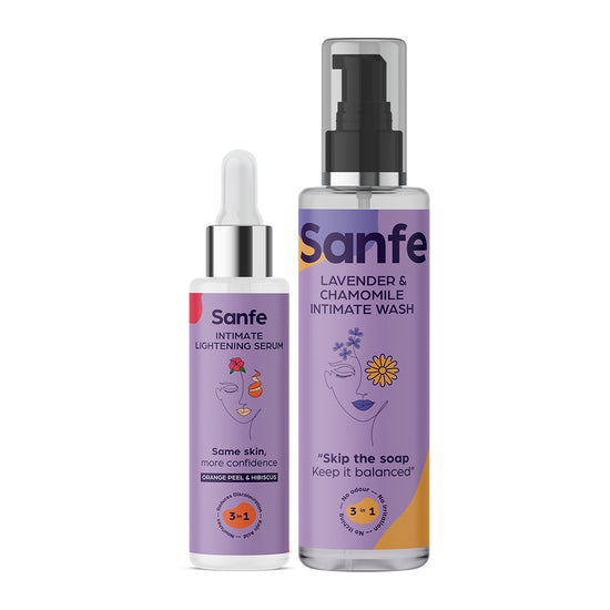 Intimate Lightening Serum With Orange Peel And Hibiscus and Intimate Wash Combo