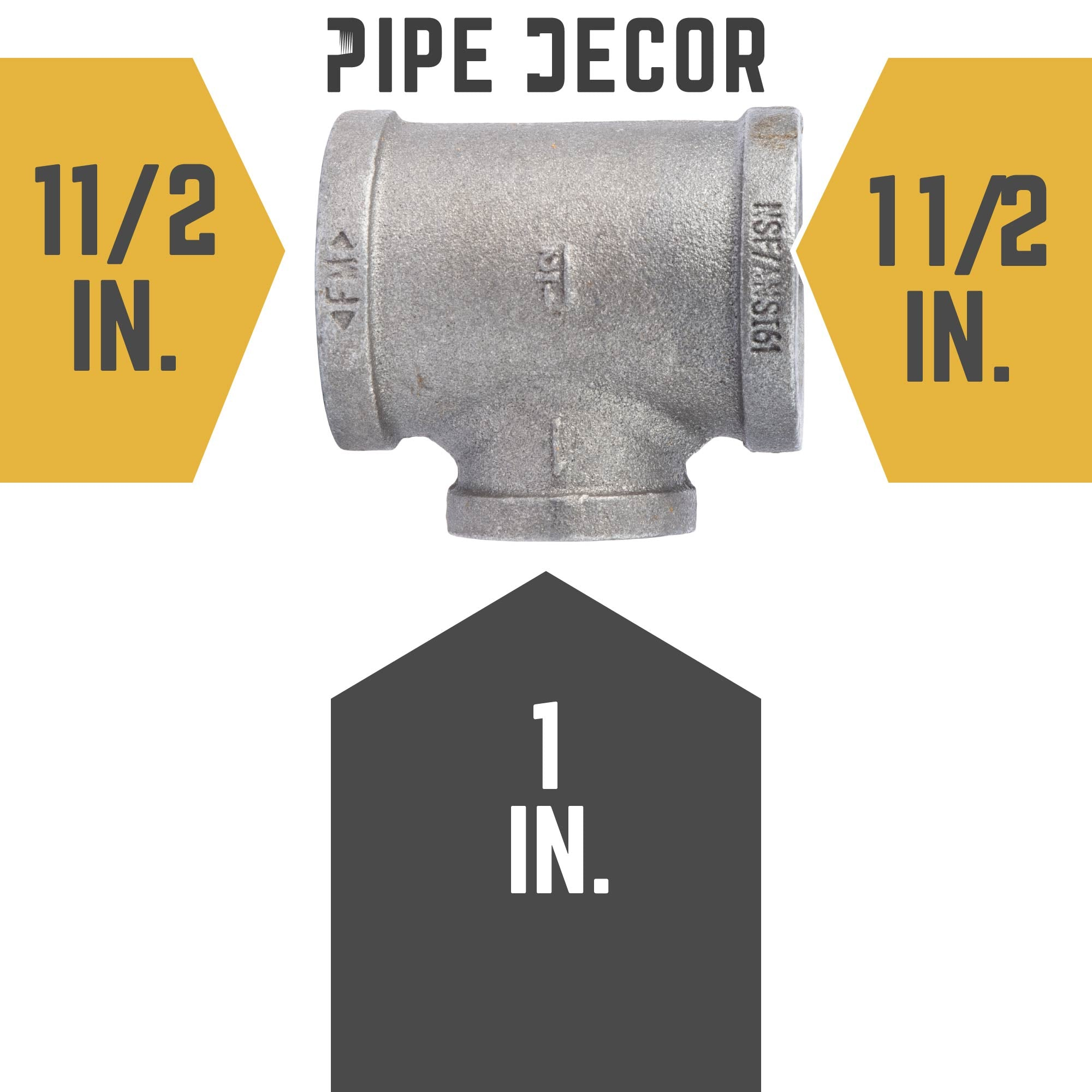 1 1/2 in. X 1 1/2 in.  X 1 in. Black Tee - Pipe Decor