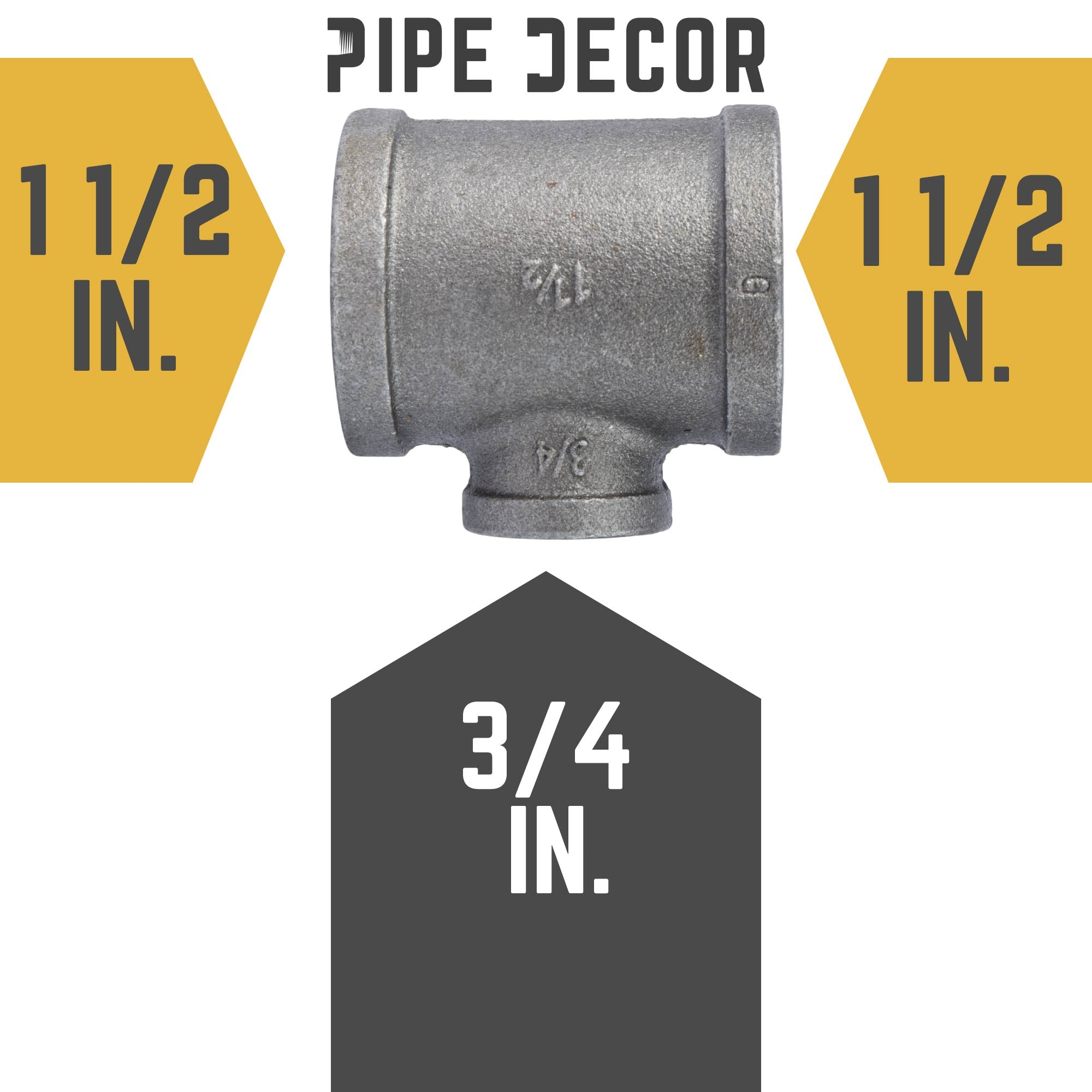 1 1/2 in. X 1 1/2 in.  X 3/4 in. Black Tee - Pipe Decor