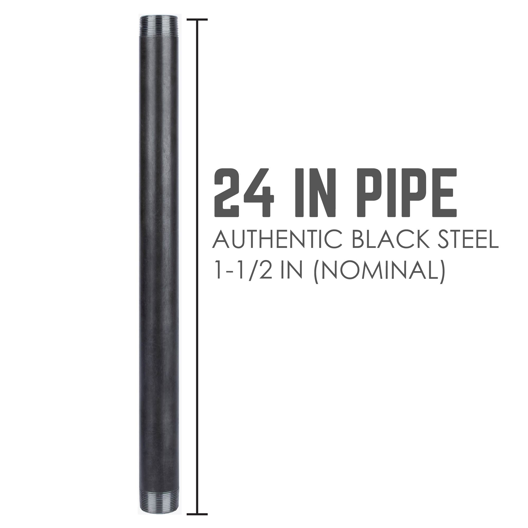 1 1/2 In X 24 In Black Pipe - Pipe Decor