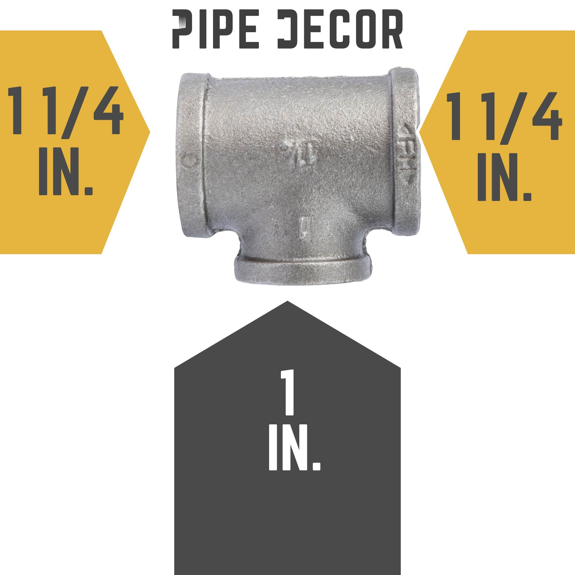 1 1/4 in. X 1 1/4 in. X 1 in. Black Reducing Tee - Pipe Decor