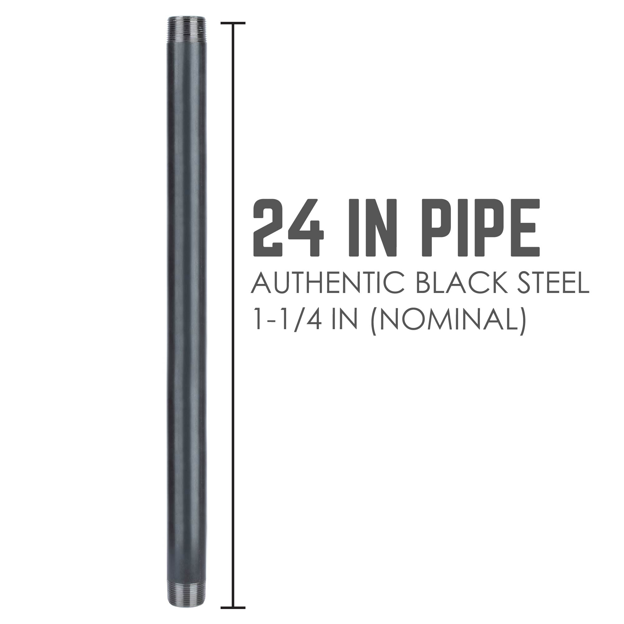 1 1/4 In X 24 In Black Pipe - Pipe Decor