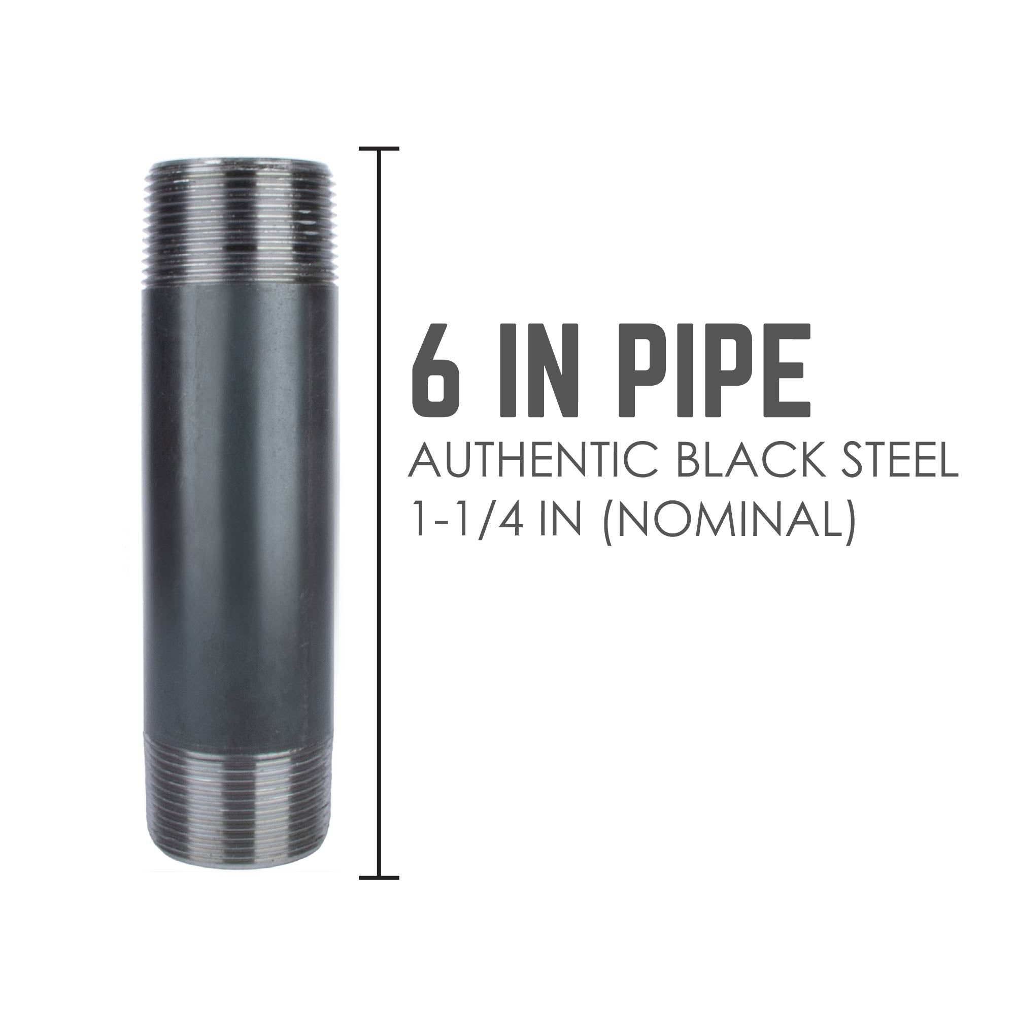 1 1/4 In X 6 In Black Pipe - Pipe Decor