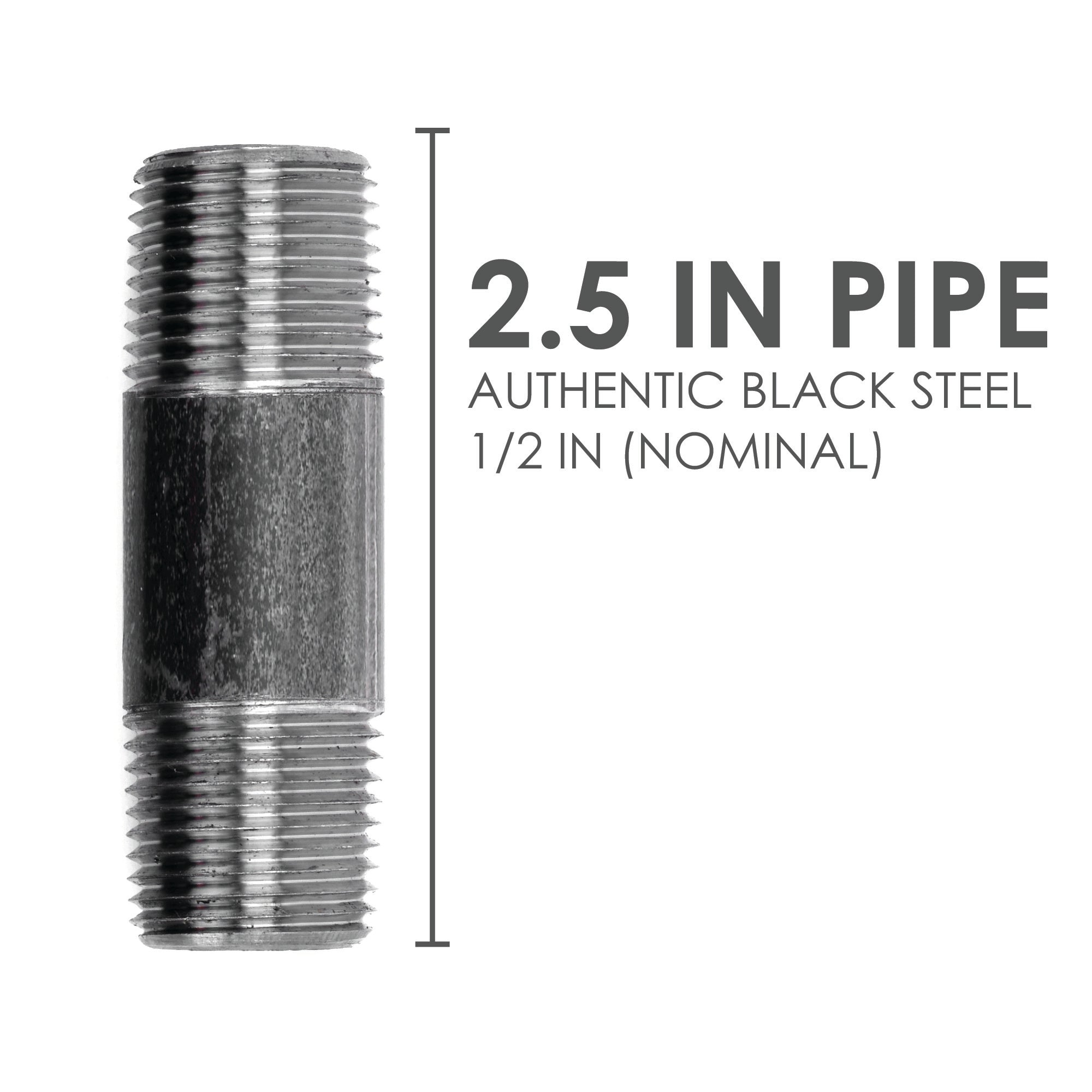 1/2  In X 2 1/2 In Black Pipe - Pipe Decor