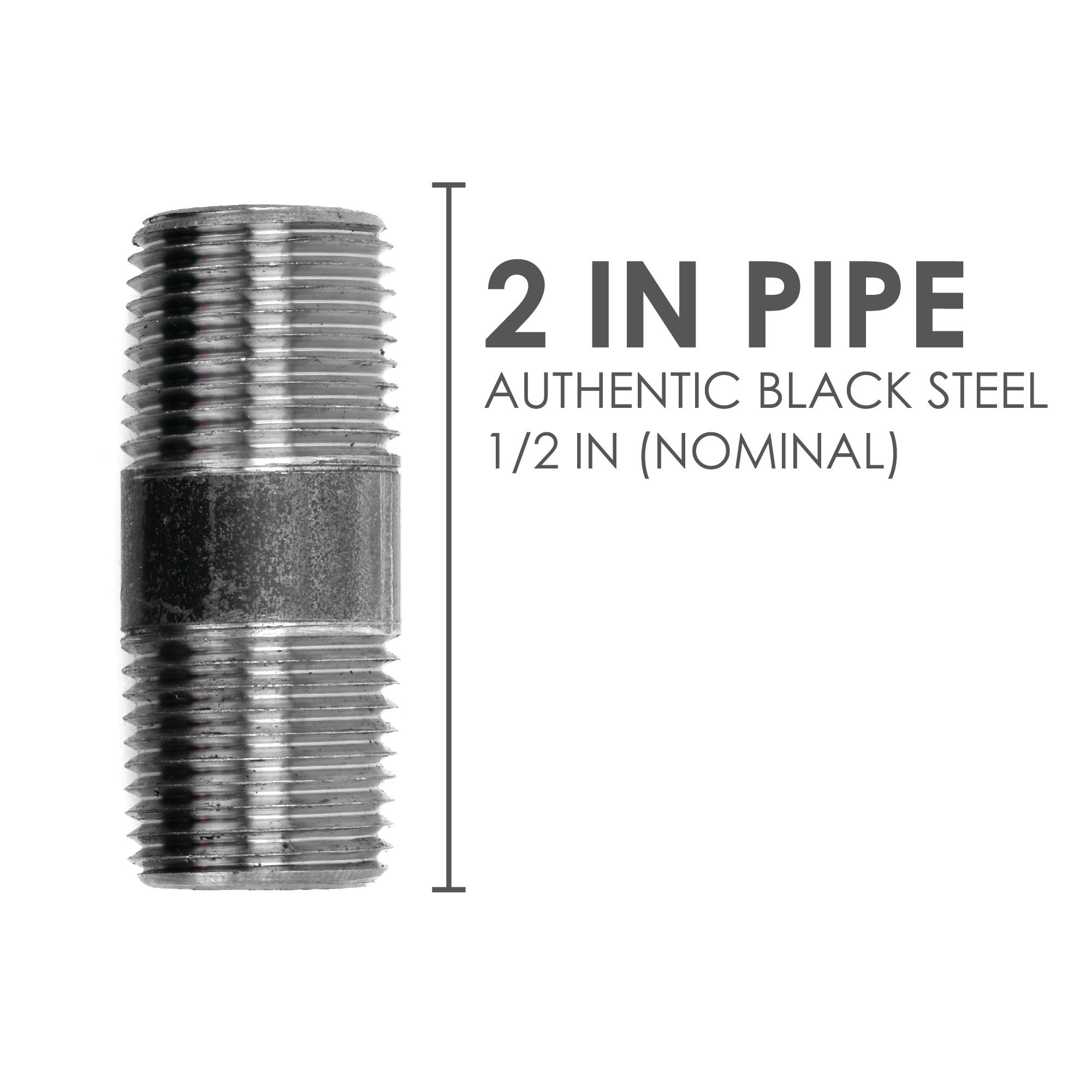 1/2  In X 2 In Black Pipe - Pipe Decor