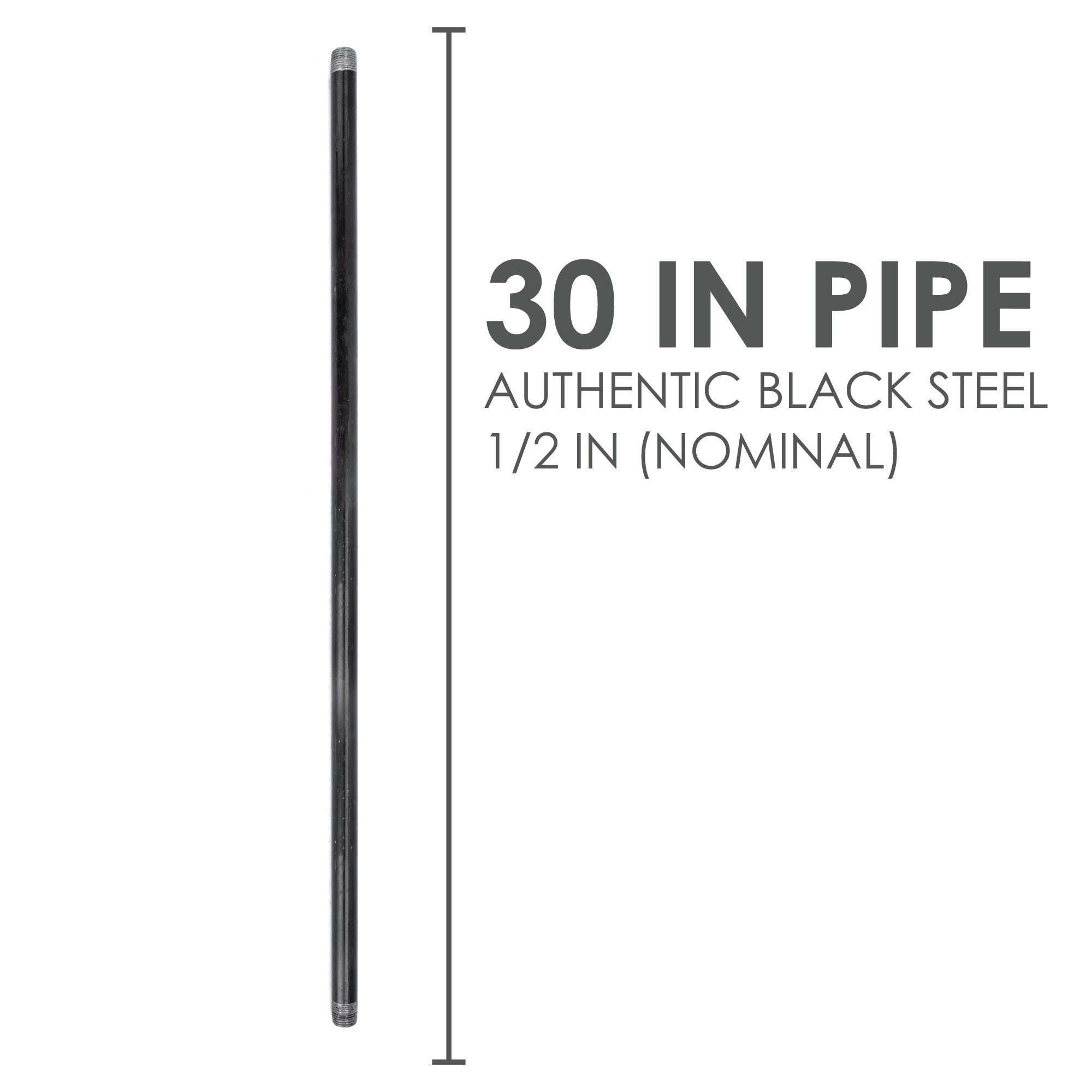 1/2  In X 30 In Black Pipe - Pipe Decor
