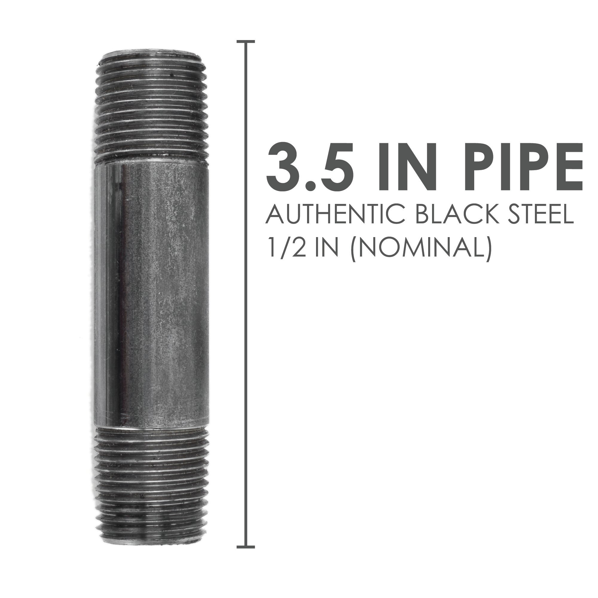 1/2  In X 3 1/2 In Black Pipe - Pipe Decor