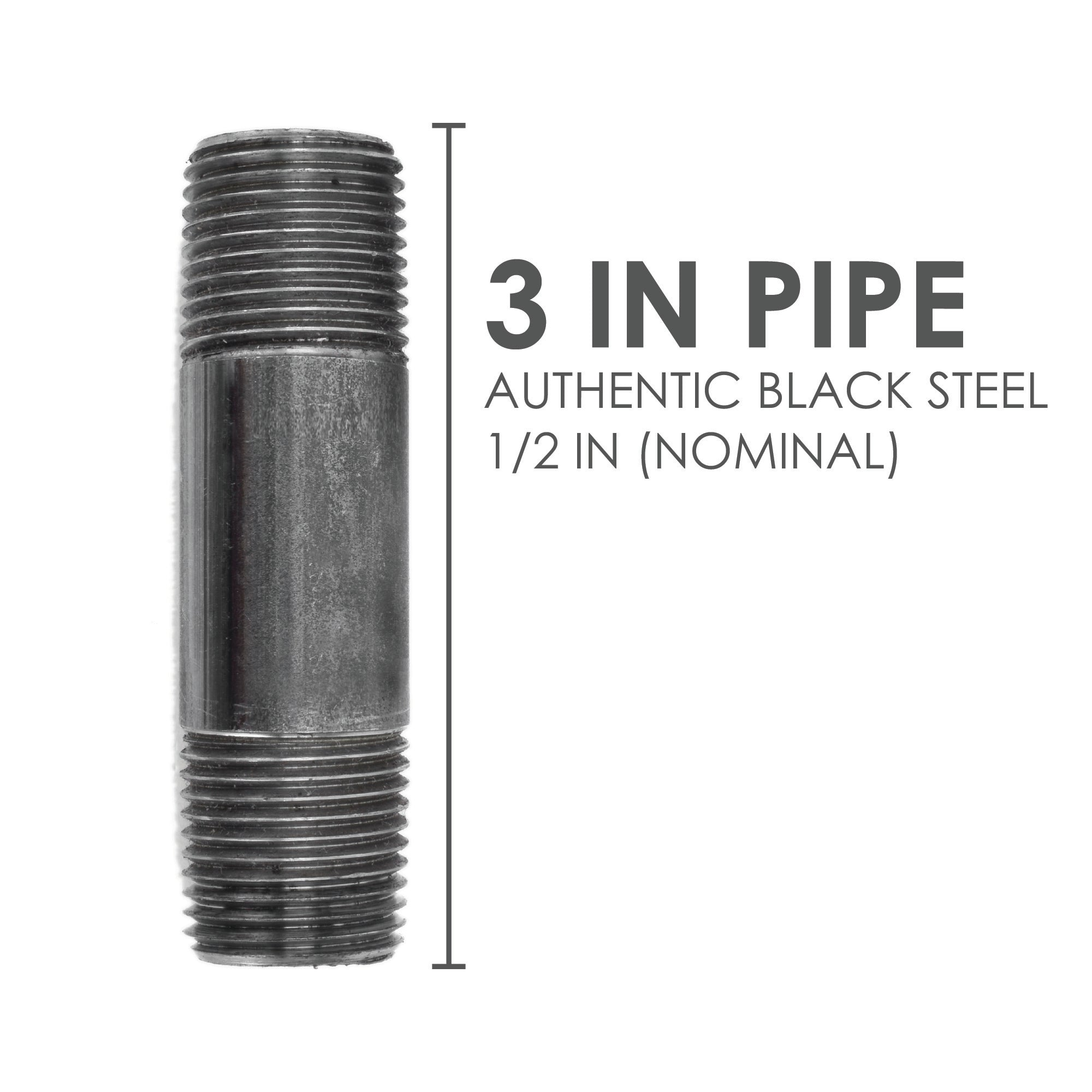 1/2  In X 3 In Black Pipe - Pipe Decor