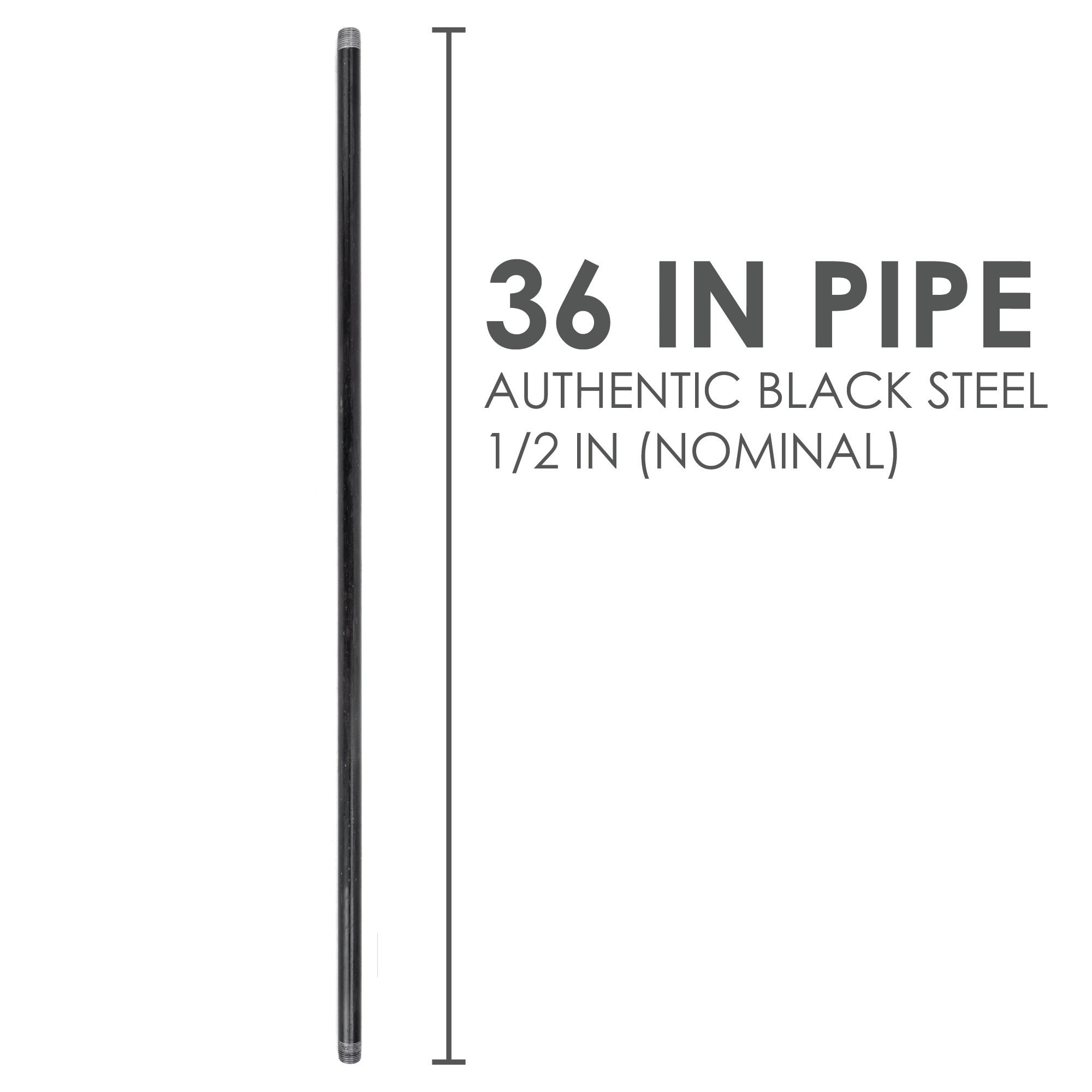 1/2  In X 36 In Black Pipe - Pipe Decor
