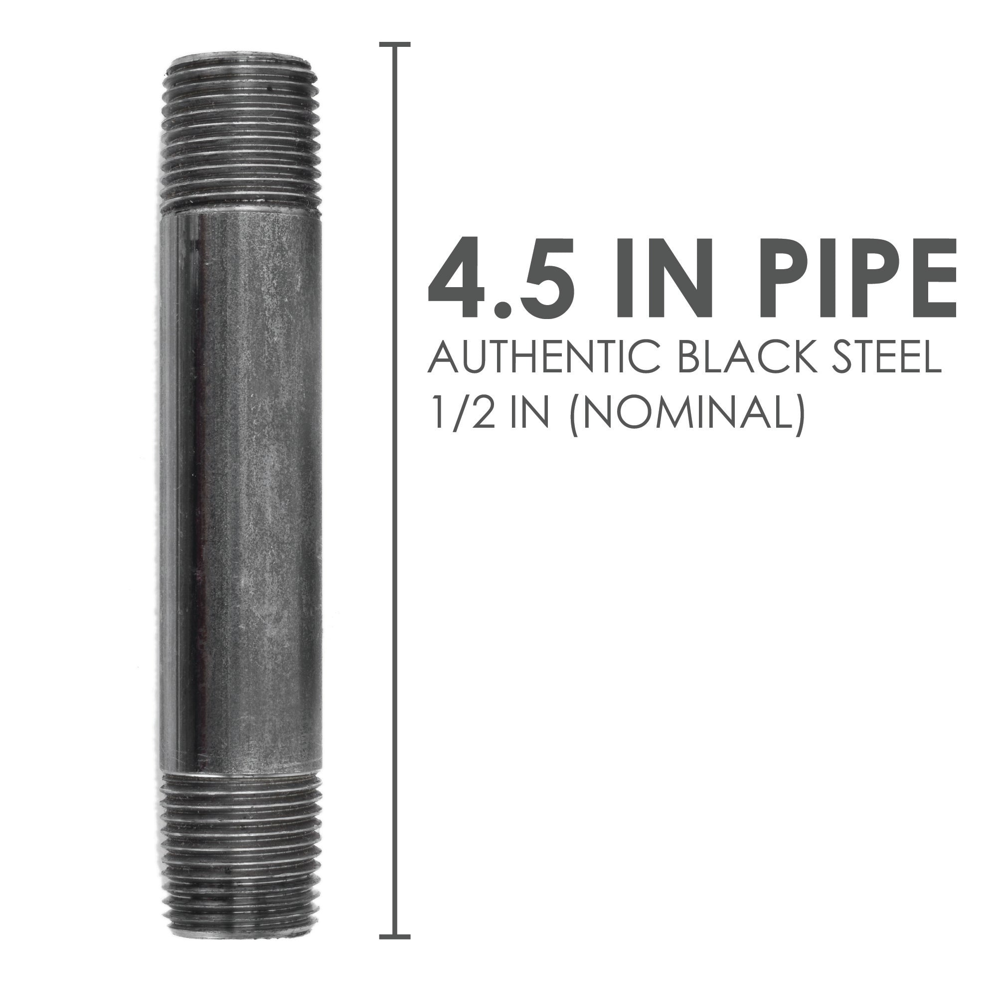 1/2  In X 4 1/2 In Black Pipe - Pipe Decor