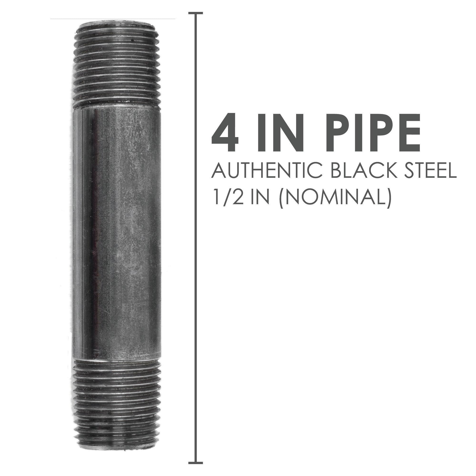 1/2  In X 4 In Black Pipe - Pipe Decor