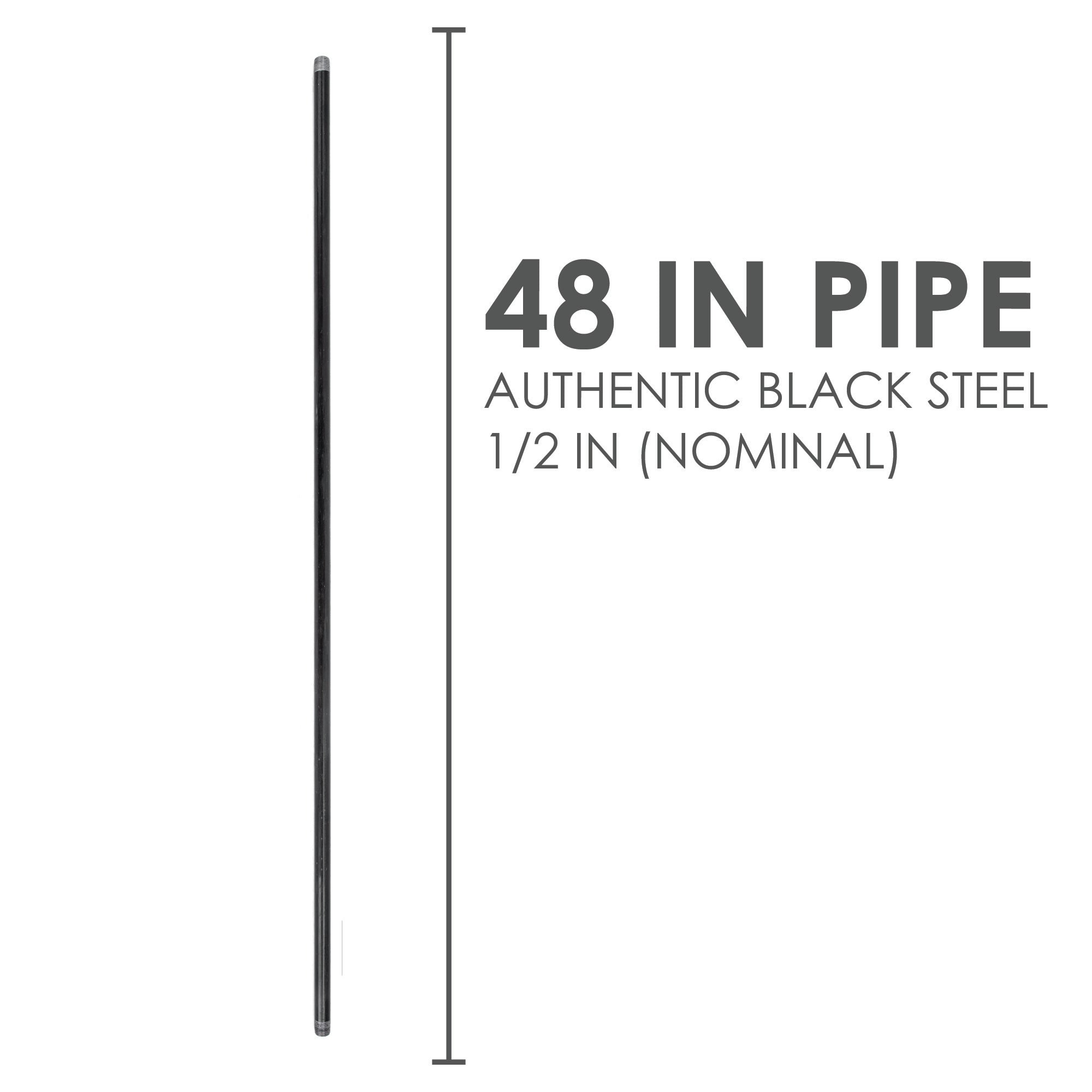 1/2  In X 48 In Black Pipe - Pipe Decor