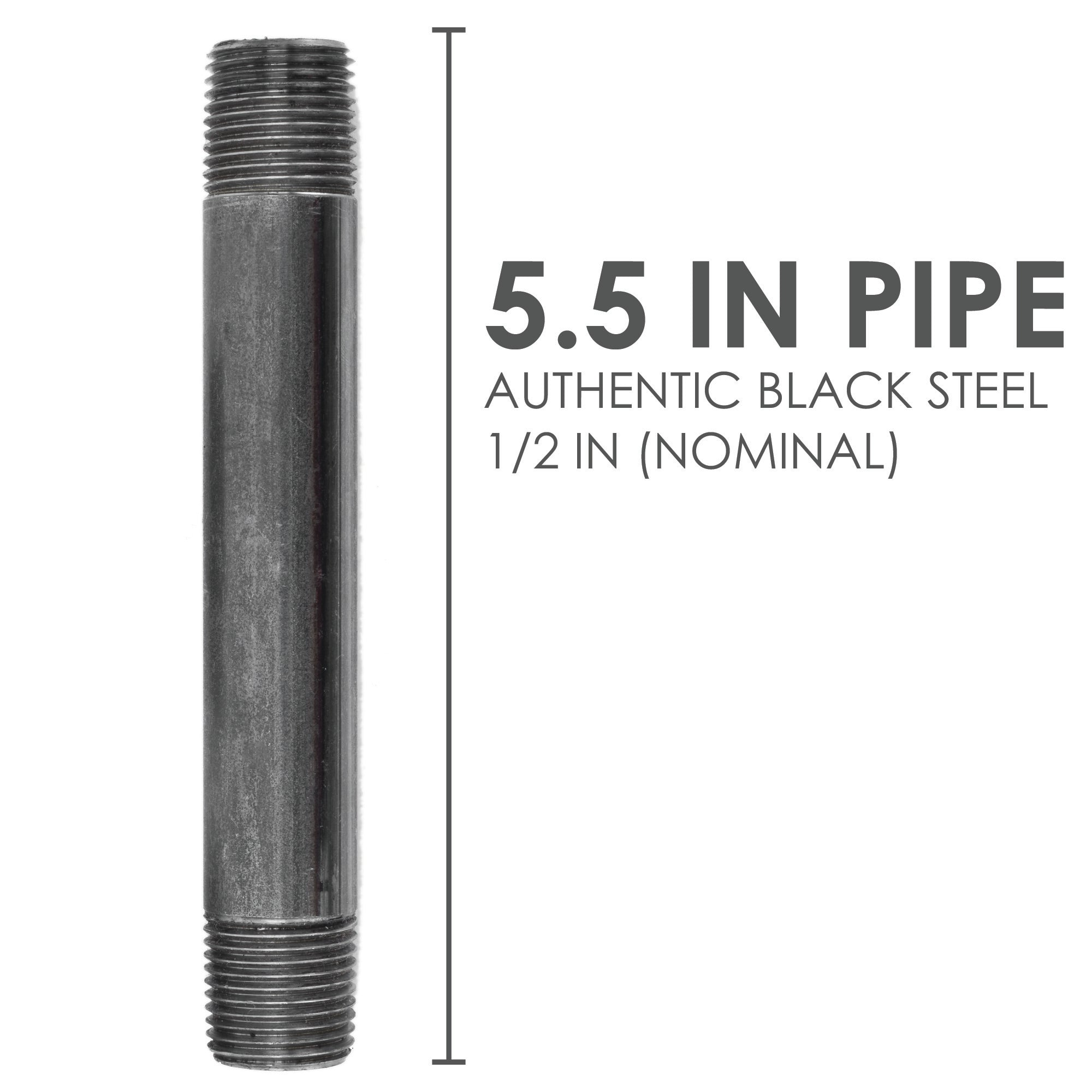 1/2  In X 5 1/2 In Black Pipe - Pipe Decor