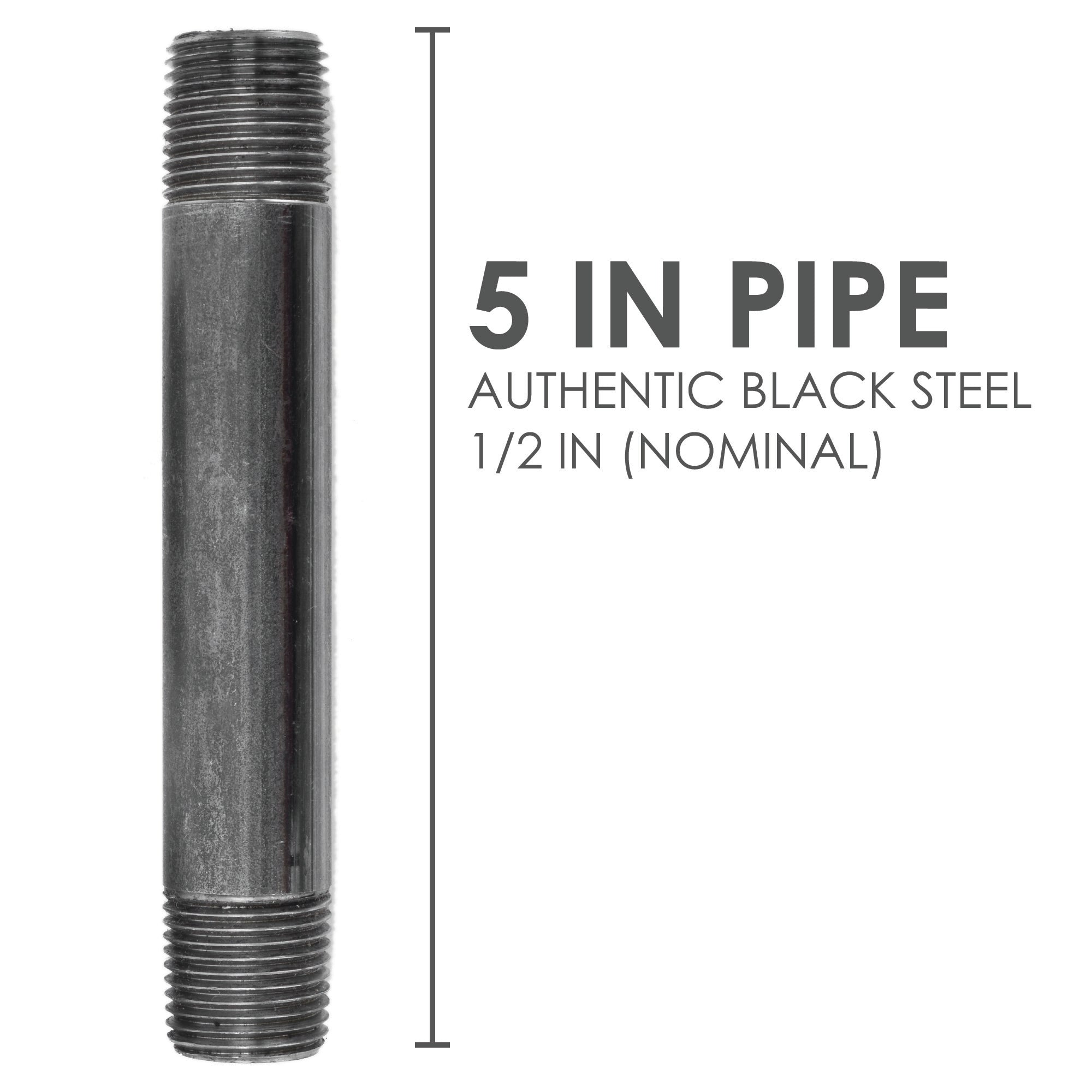1/2  In X 5 In Black Pipe - Pipe Decor
