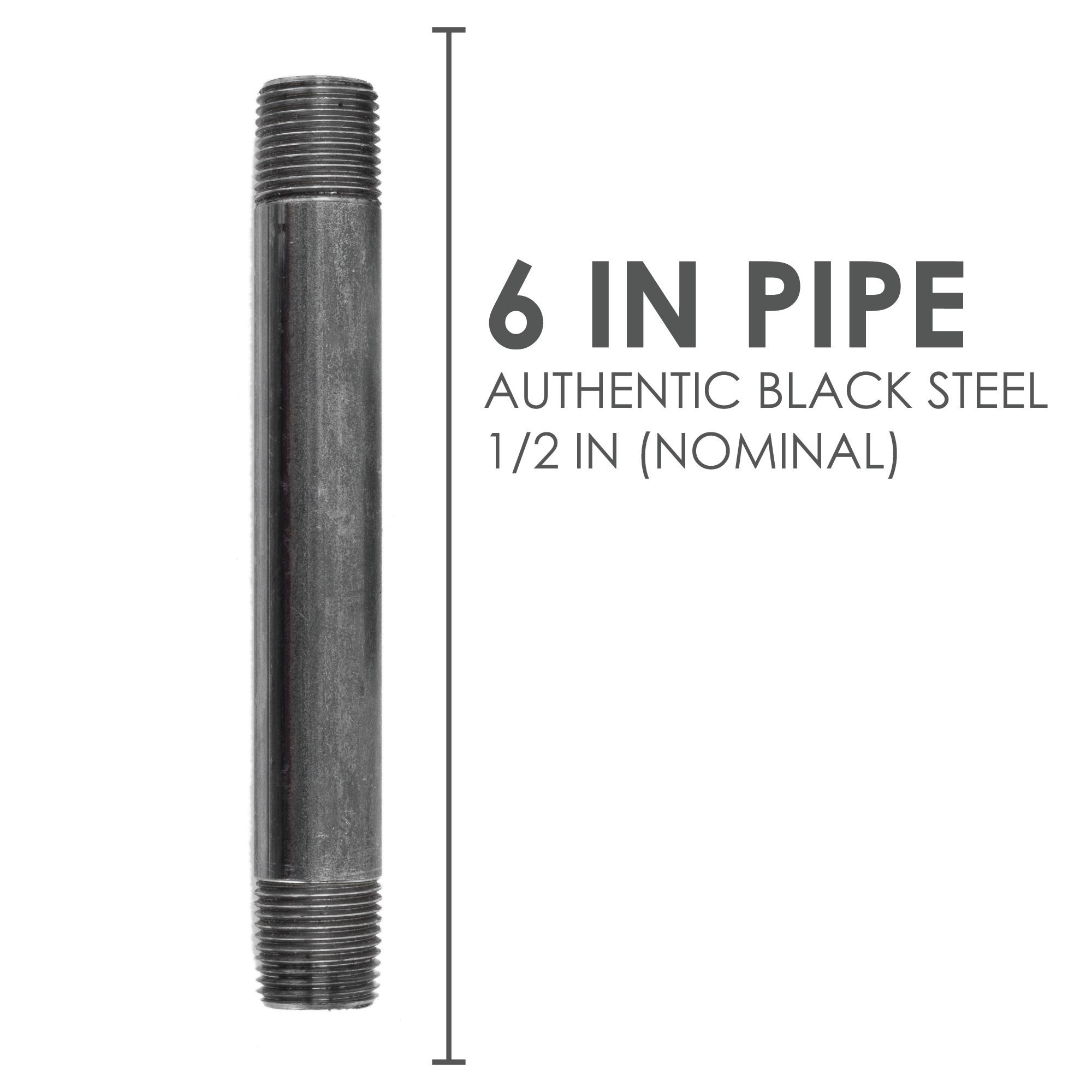 1/2  In X 6 In Black Pipe - Pipe Decor