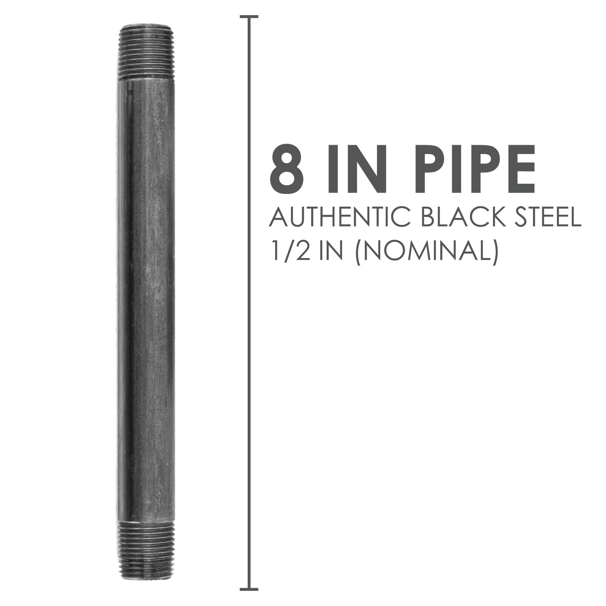 1/2  In X 8 In Black Pipe - Pipe Decor