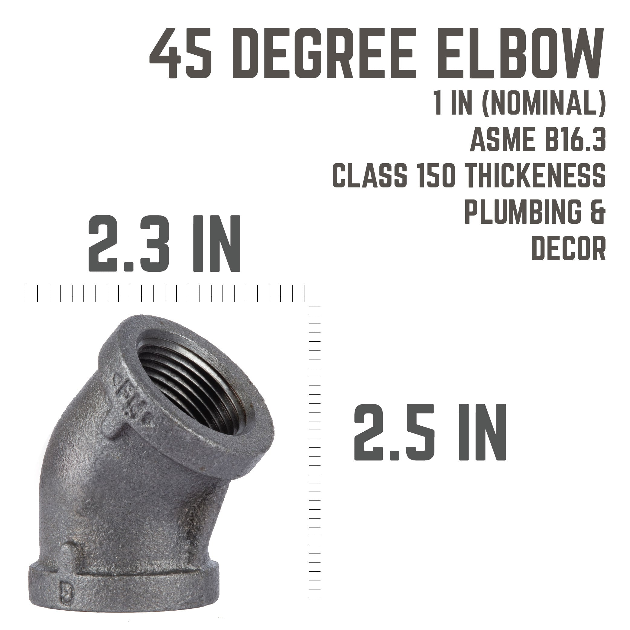 1 In Black 45 Elbow - Pipe Decor