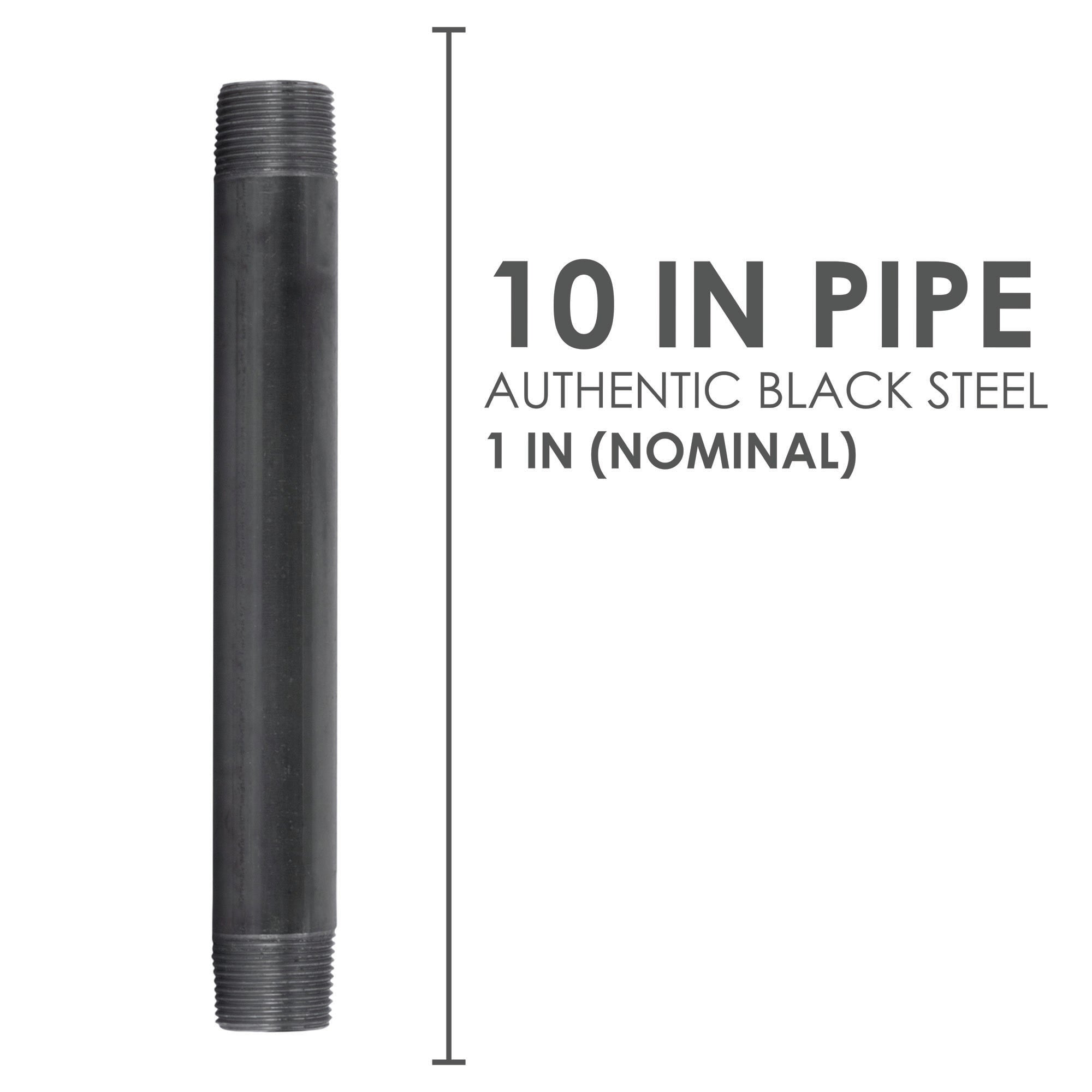 1 In X 10 In Black Pipe - Pipe Decor