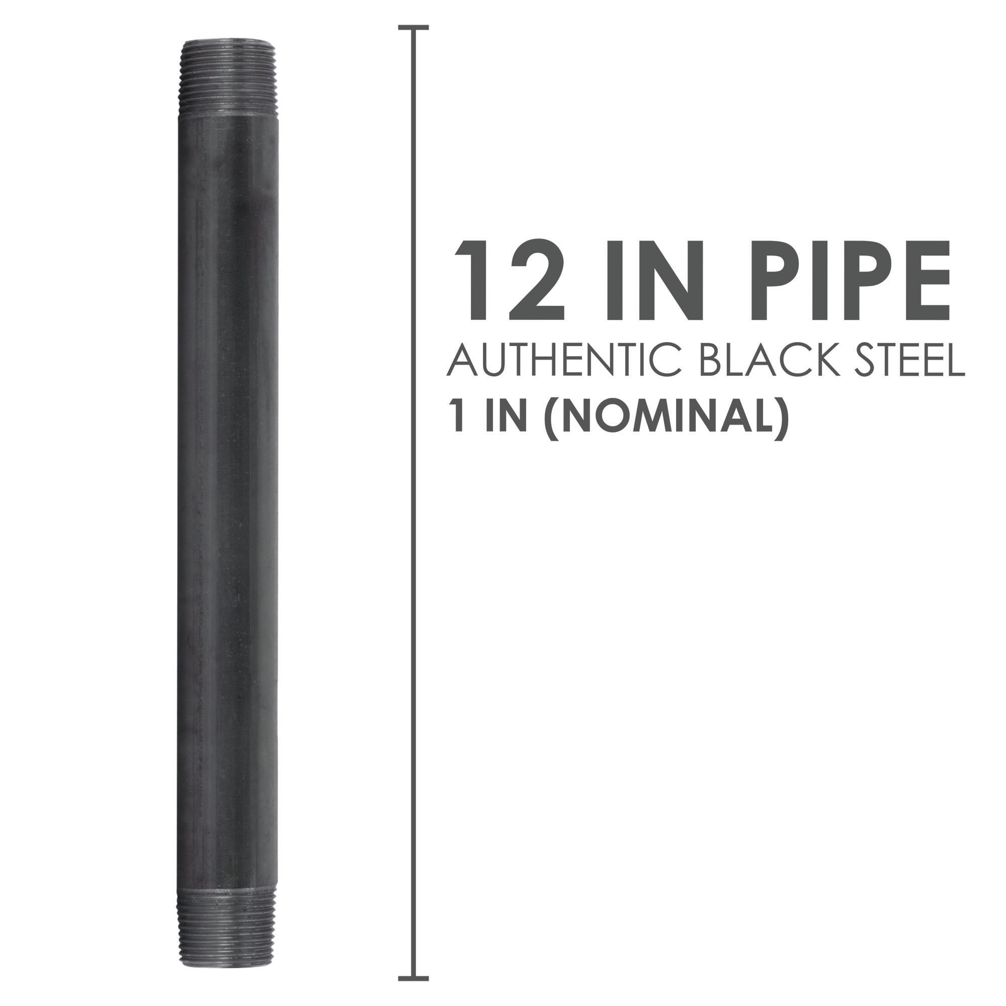 1 In X 12 In Black Pipe - Pipe Decor