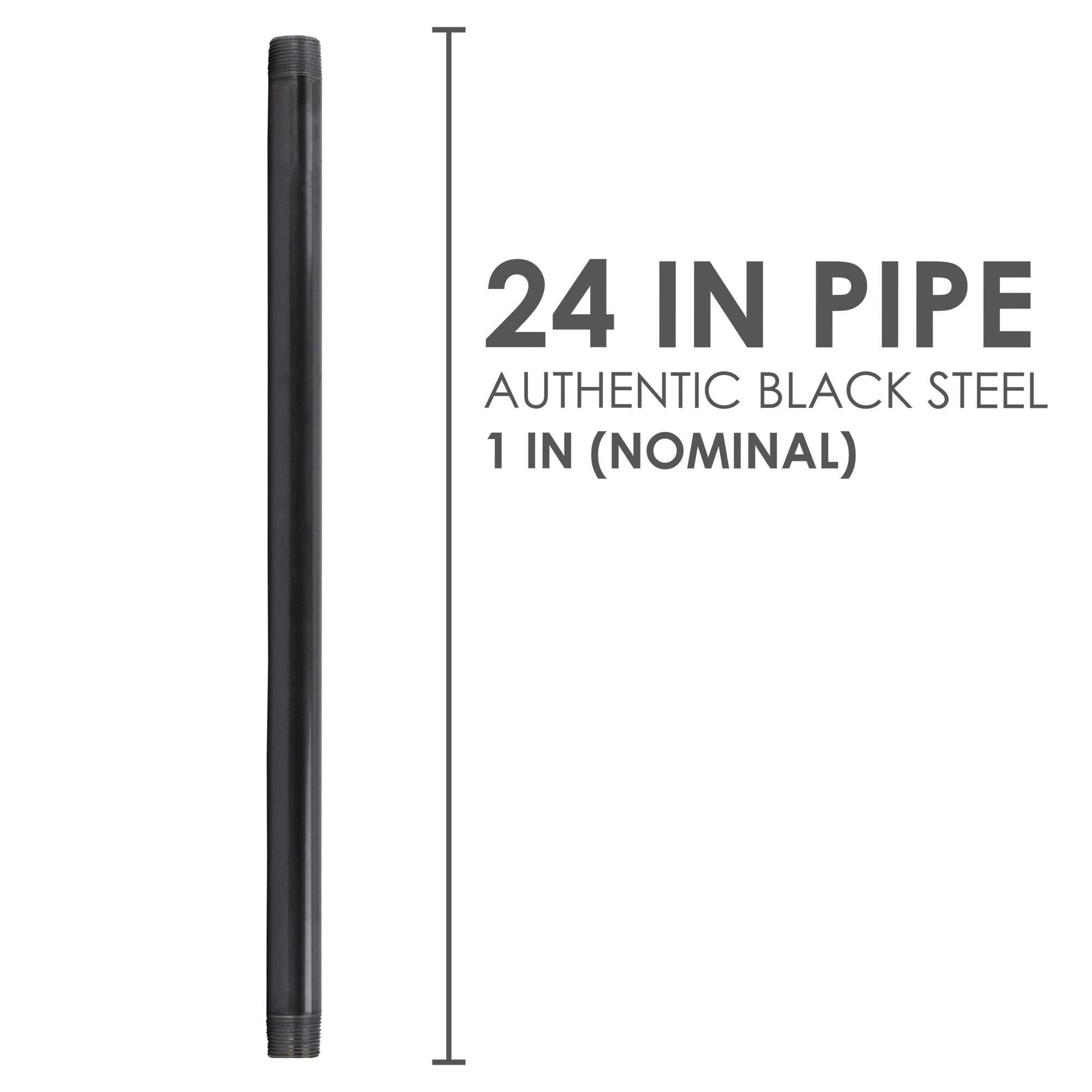 1 In X 24 In Black Pipe - Pipe Decor