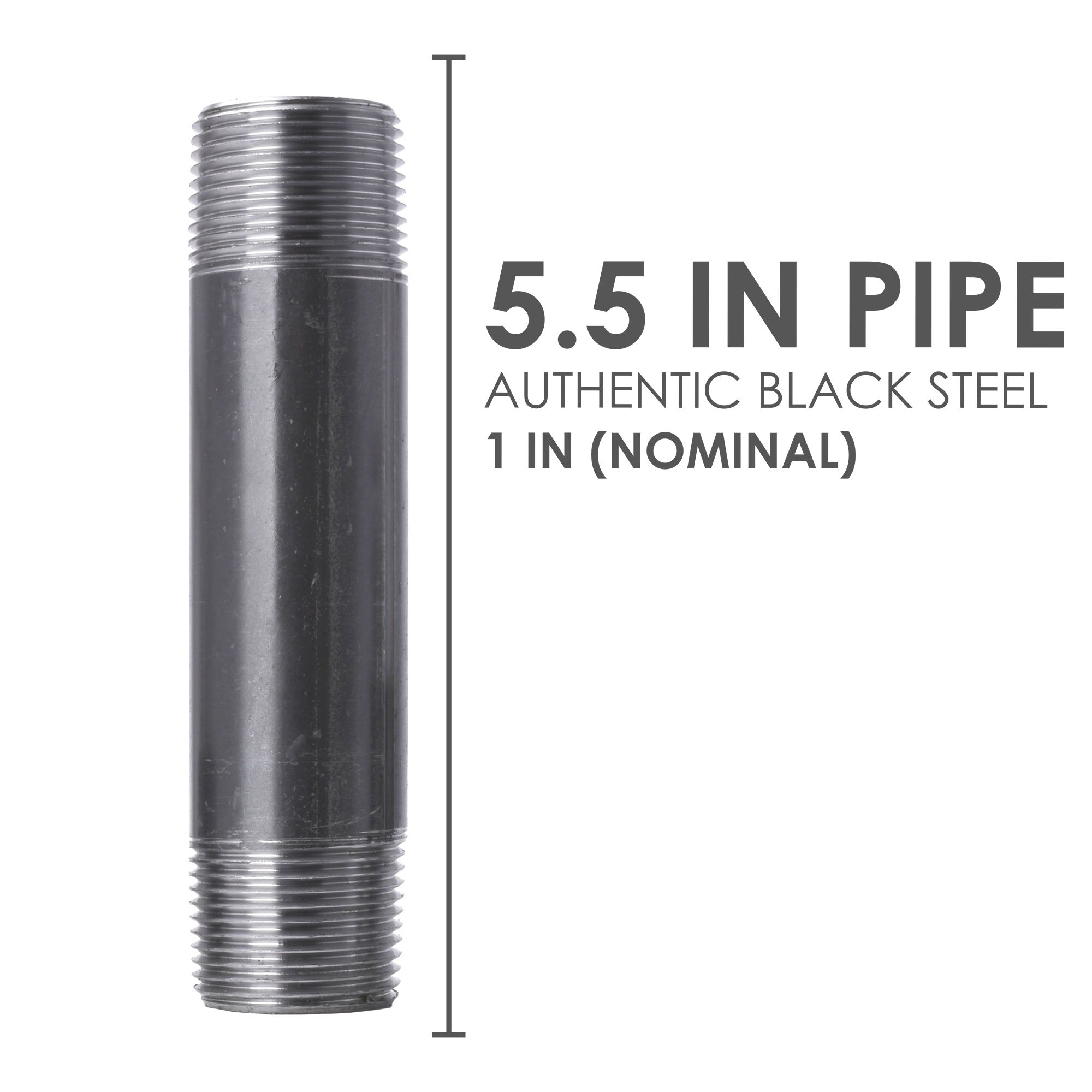 1 In X 5 1/2 In Black Pipe - Pipe Decor