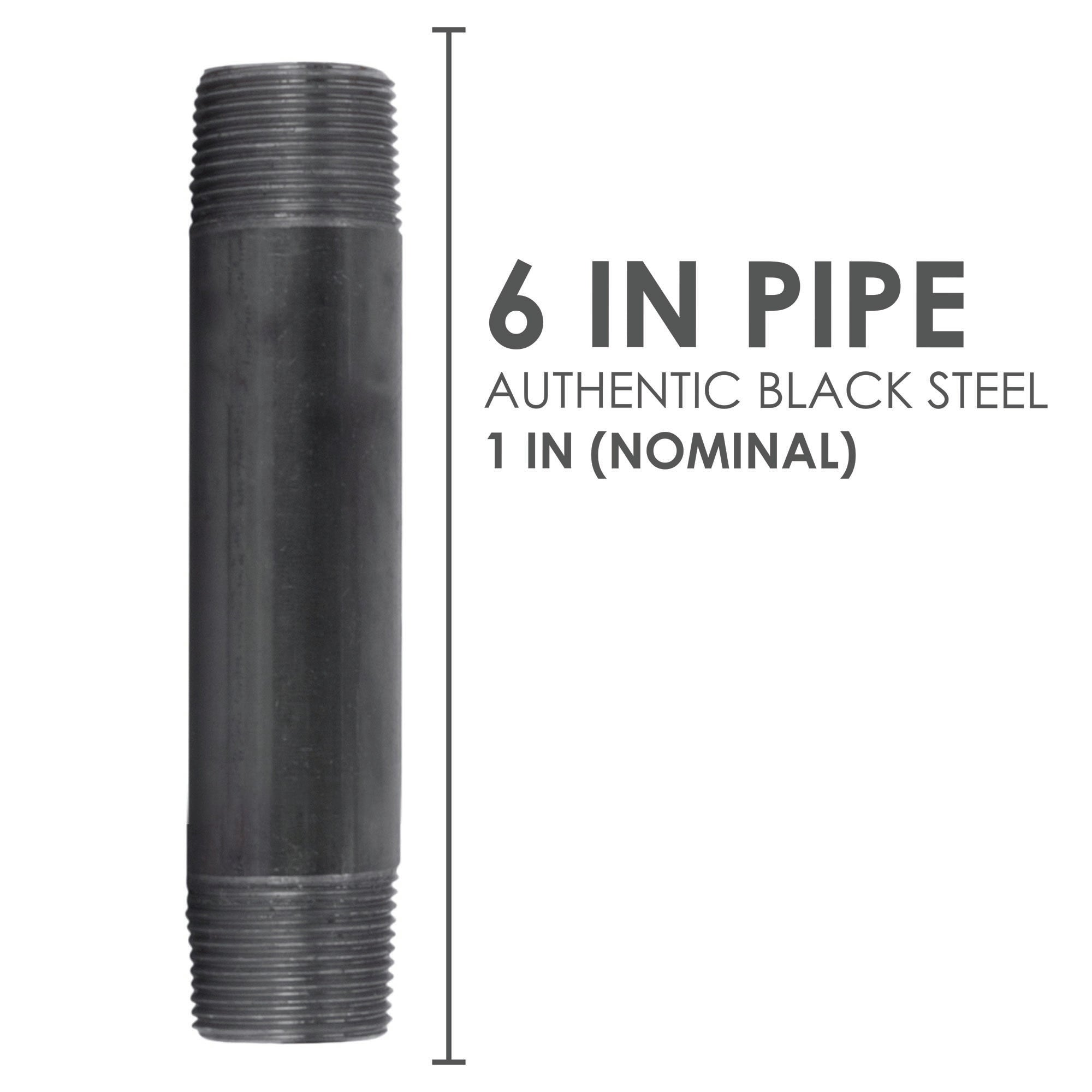 1 In X 6 In Black Pipe - Pipe Decor