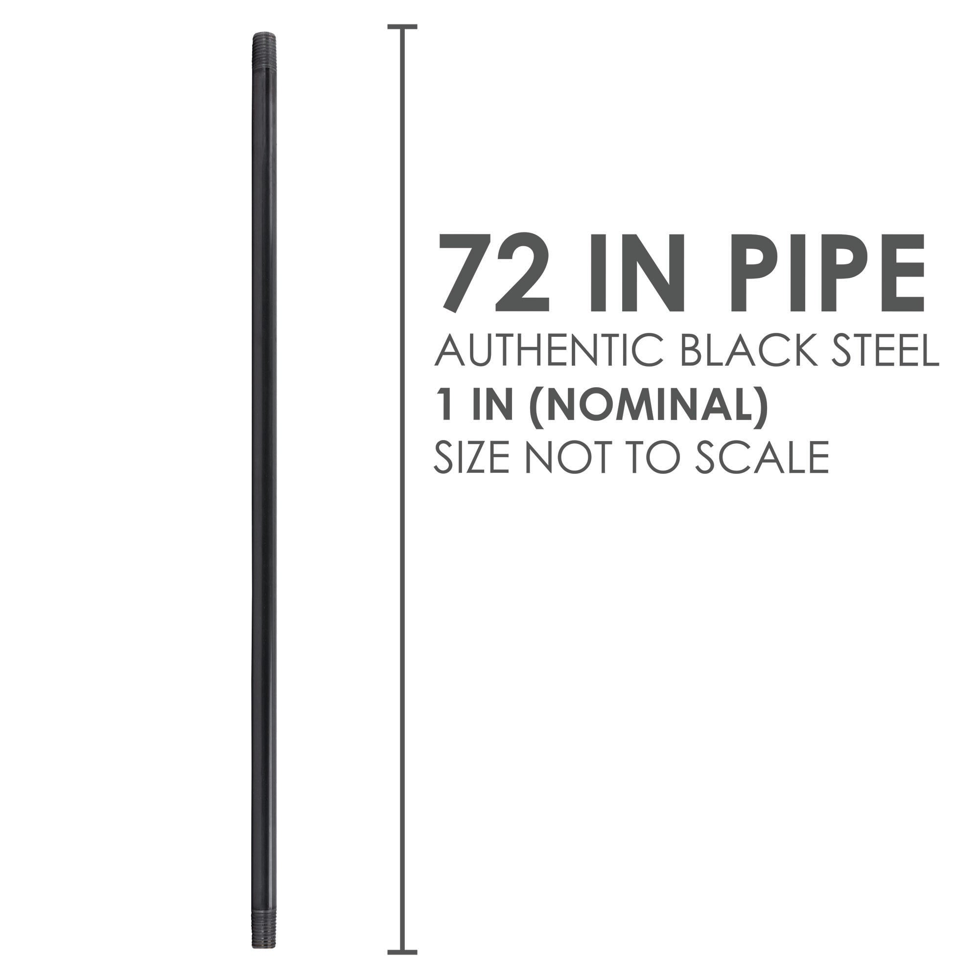 1 In X 72 In Black Pipe - Pipe Decor