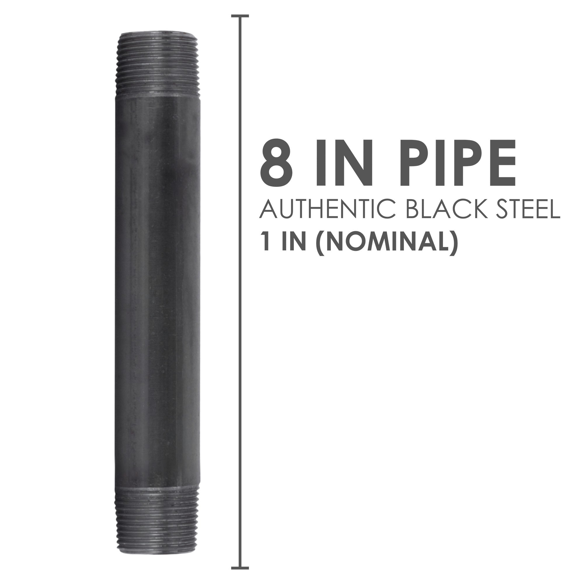 1 In X 8 In Black Pipe