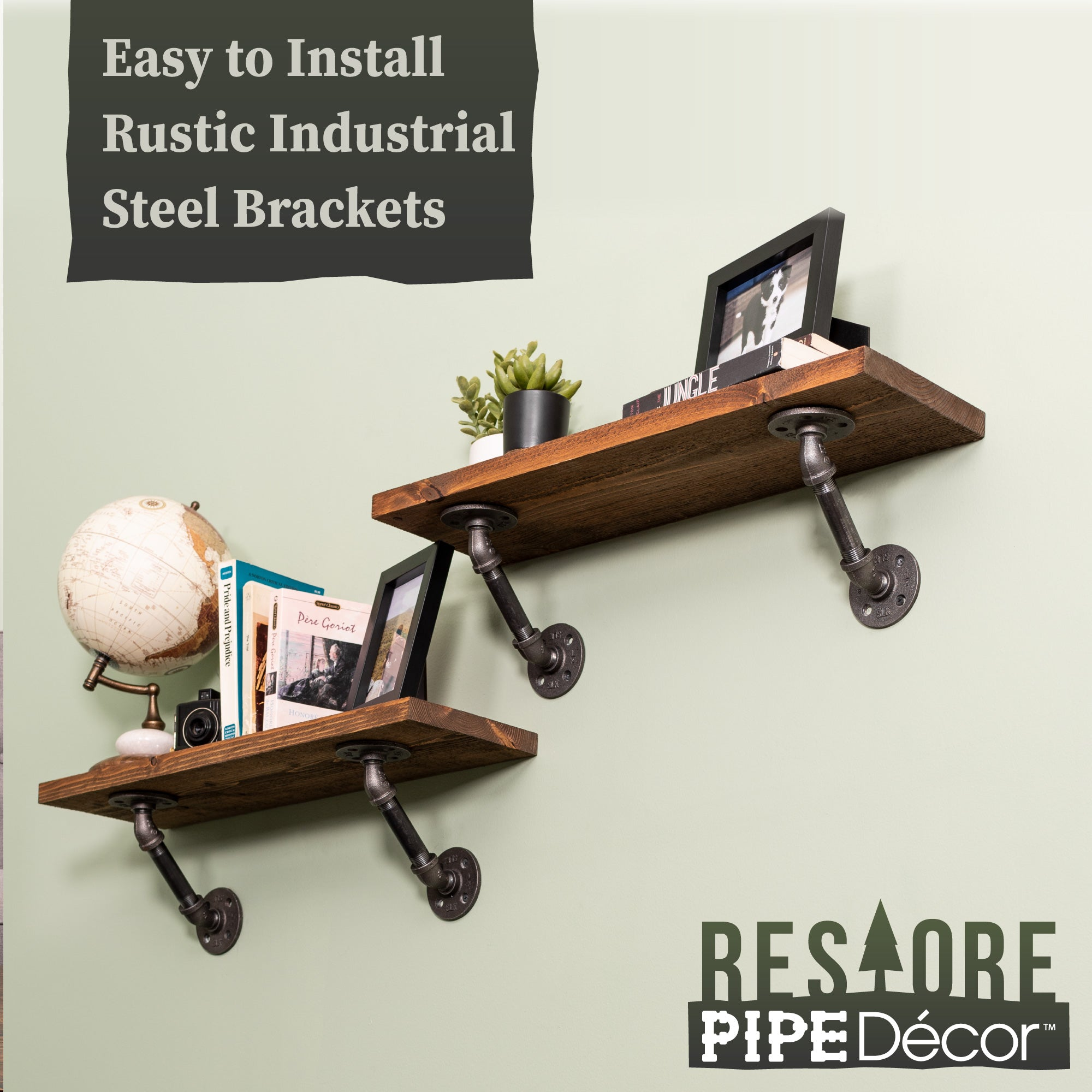 Restore Autumn Brown 24 in. Shelves with Angled Brackets - Pipe Decor