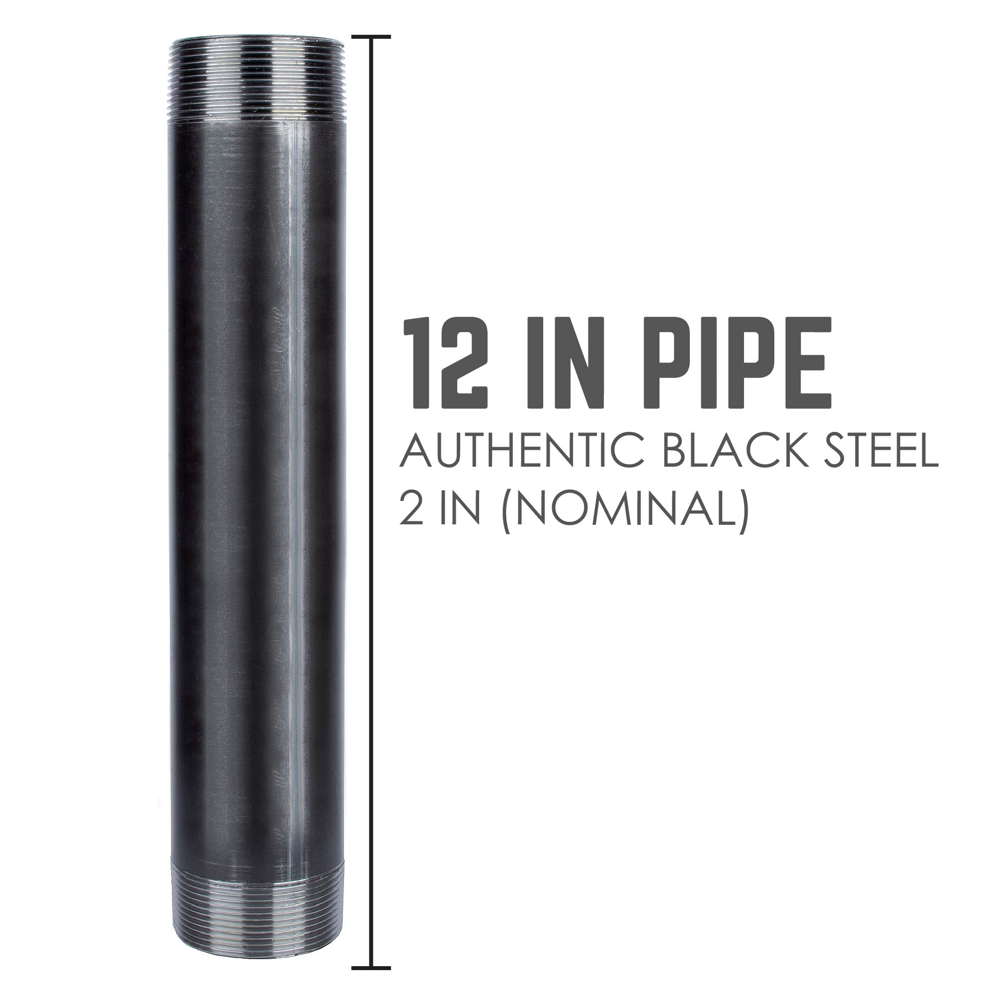 2 In X 12 In Black Pipe - Pipe Decor