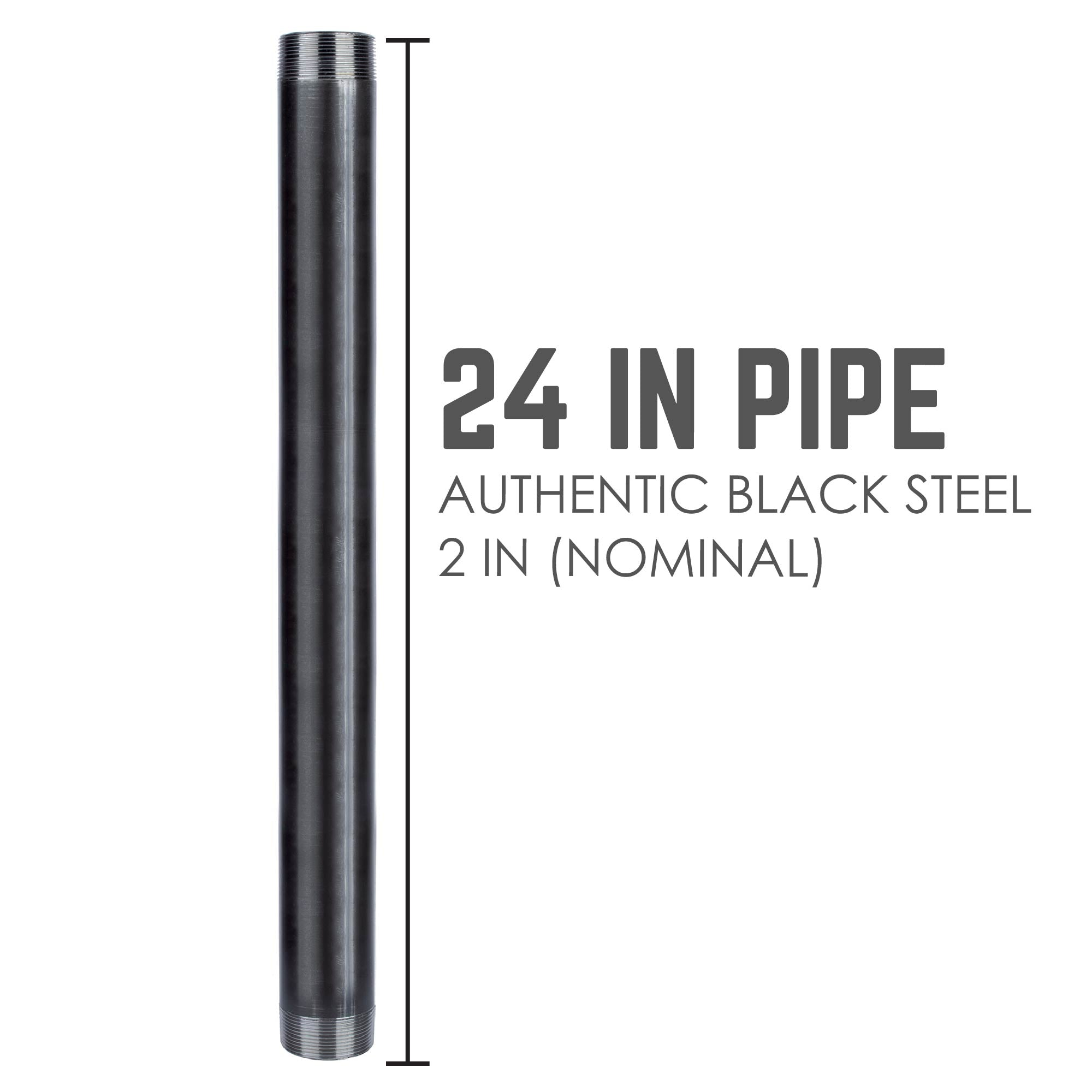 2 In X 24 In Black Pipe - Pipe Decor