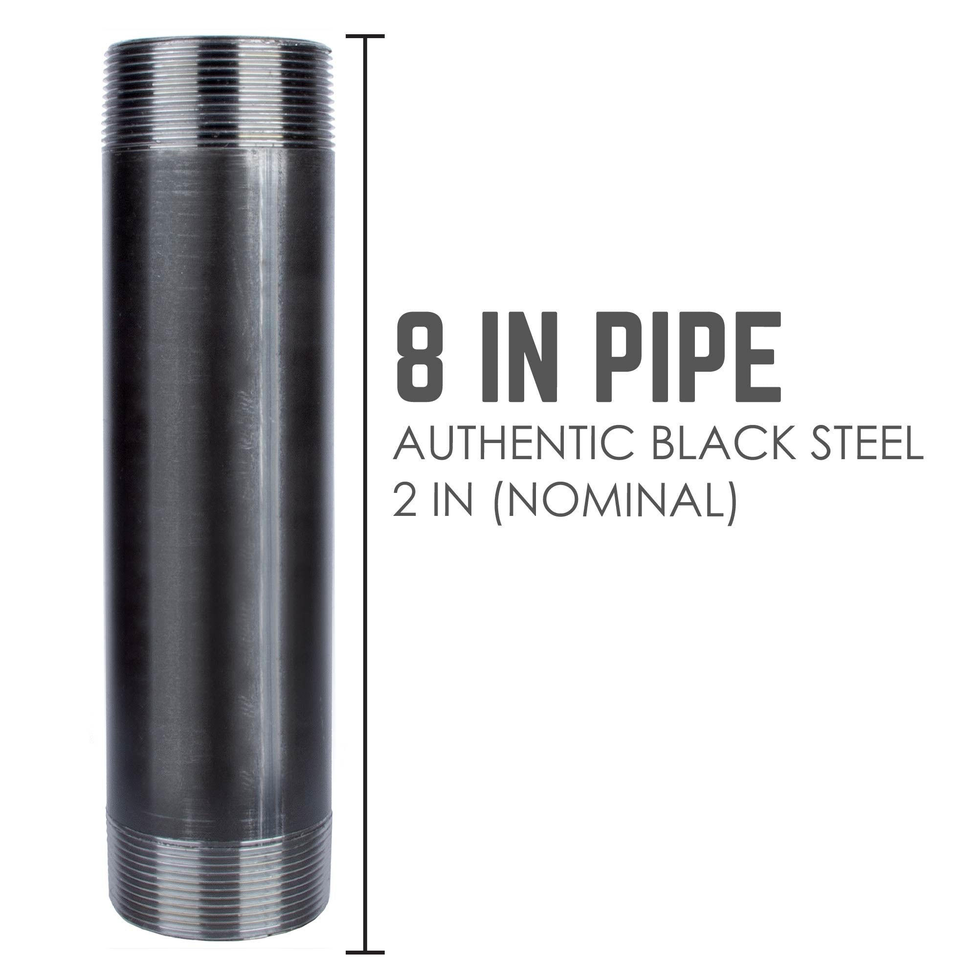 2 In X 8 In Black Pipe - Pipe Decor