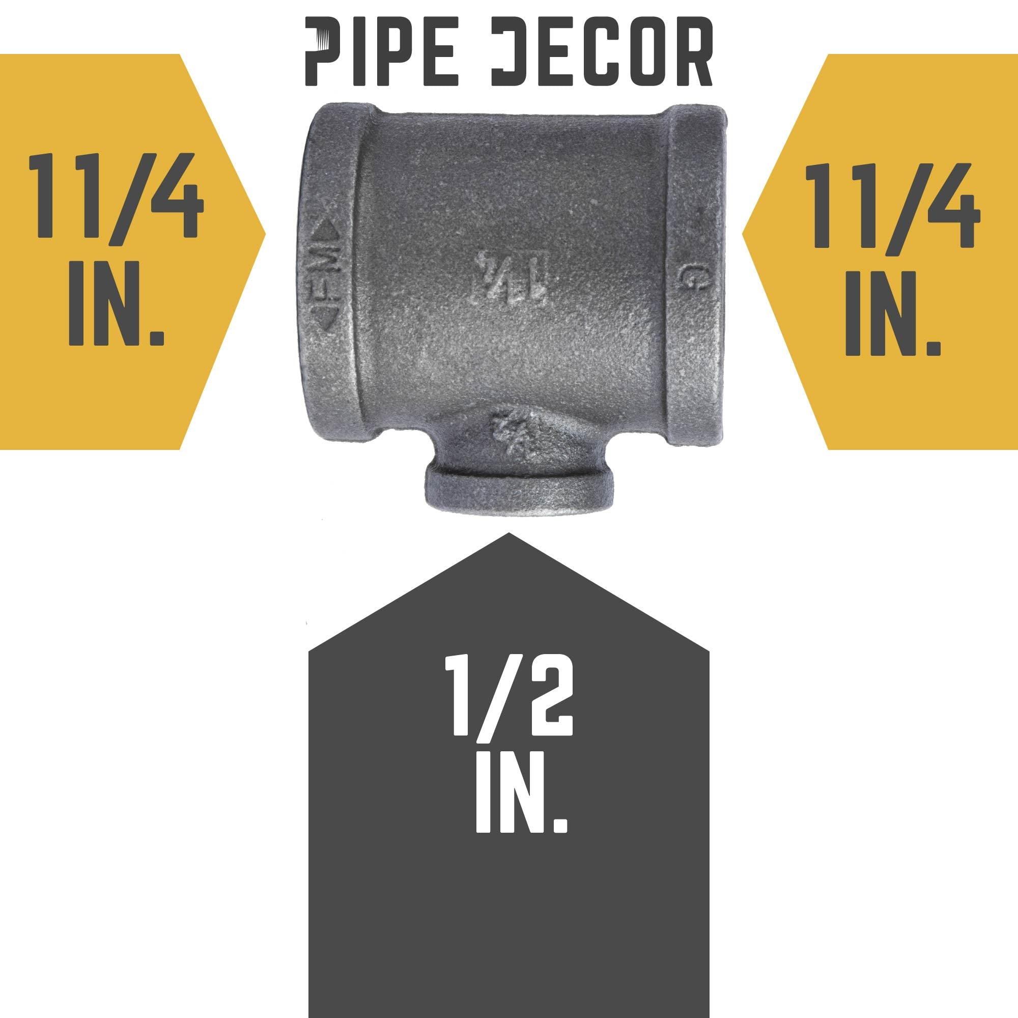 1 1/4 in. X 1 1/4 in. X 1/2 in. Black Reducing Tee - Pipe Decor