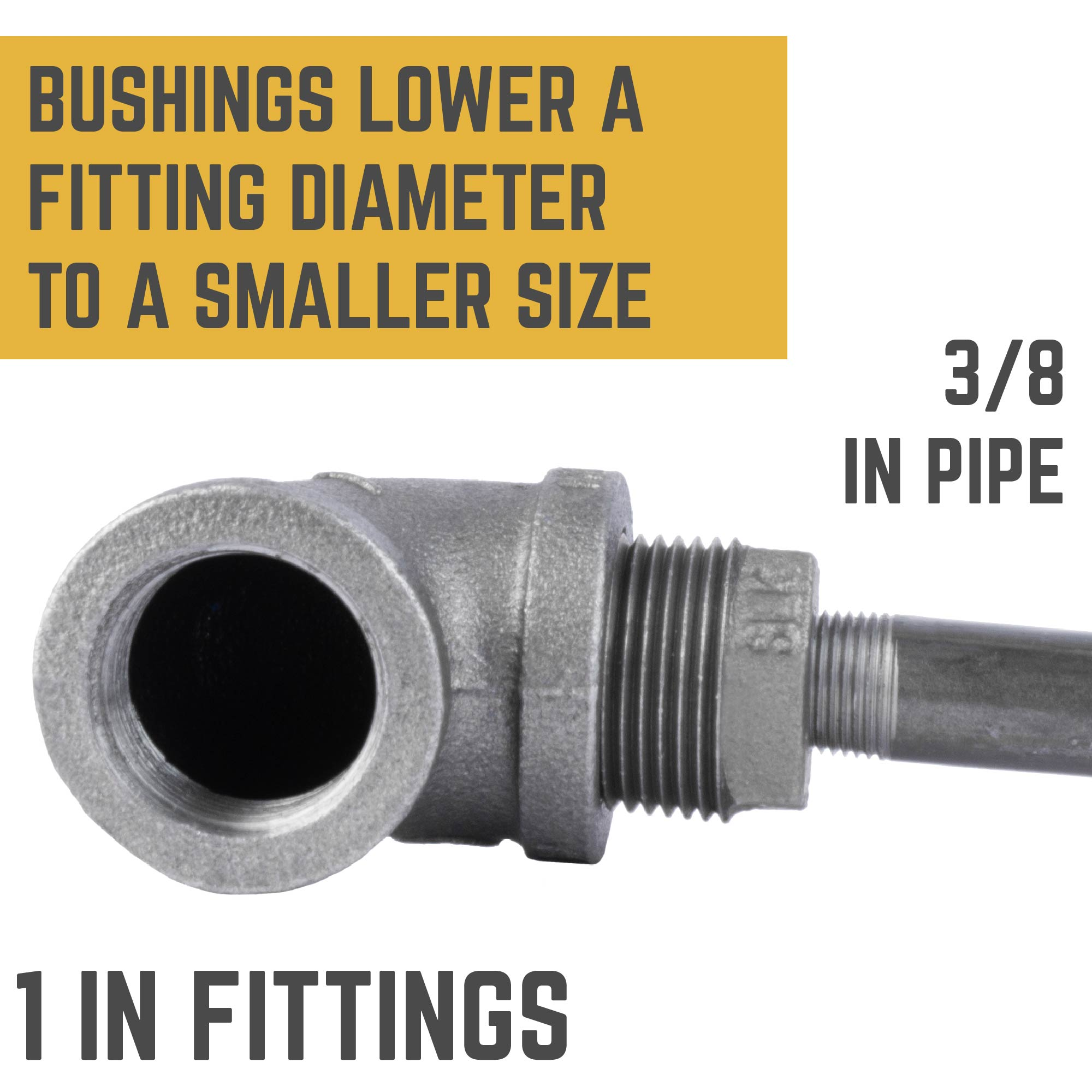 1 in. X 3/8 in. Bushing - Pipe Decor