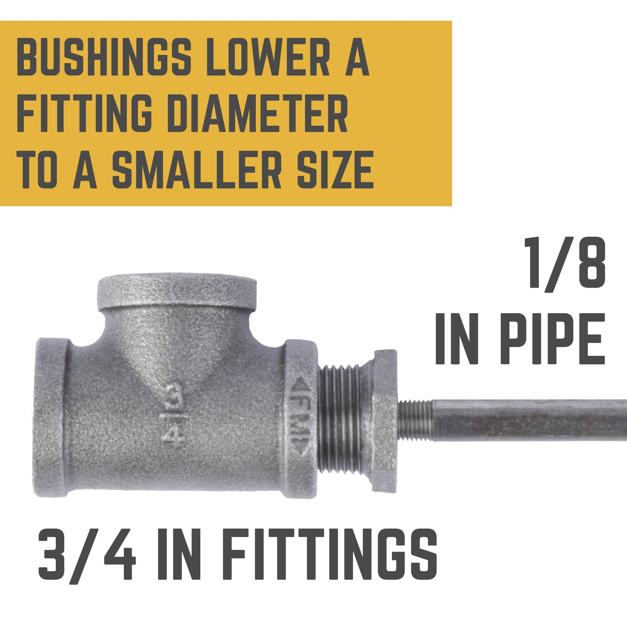 3/4 in. X 1/8 in. Bushing - Pipe Decor