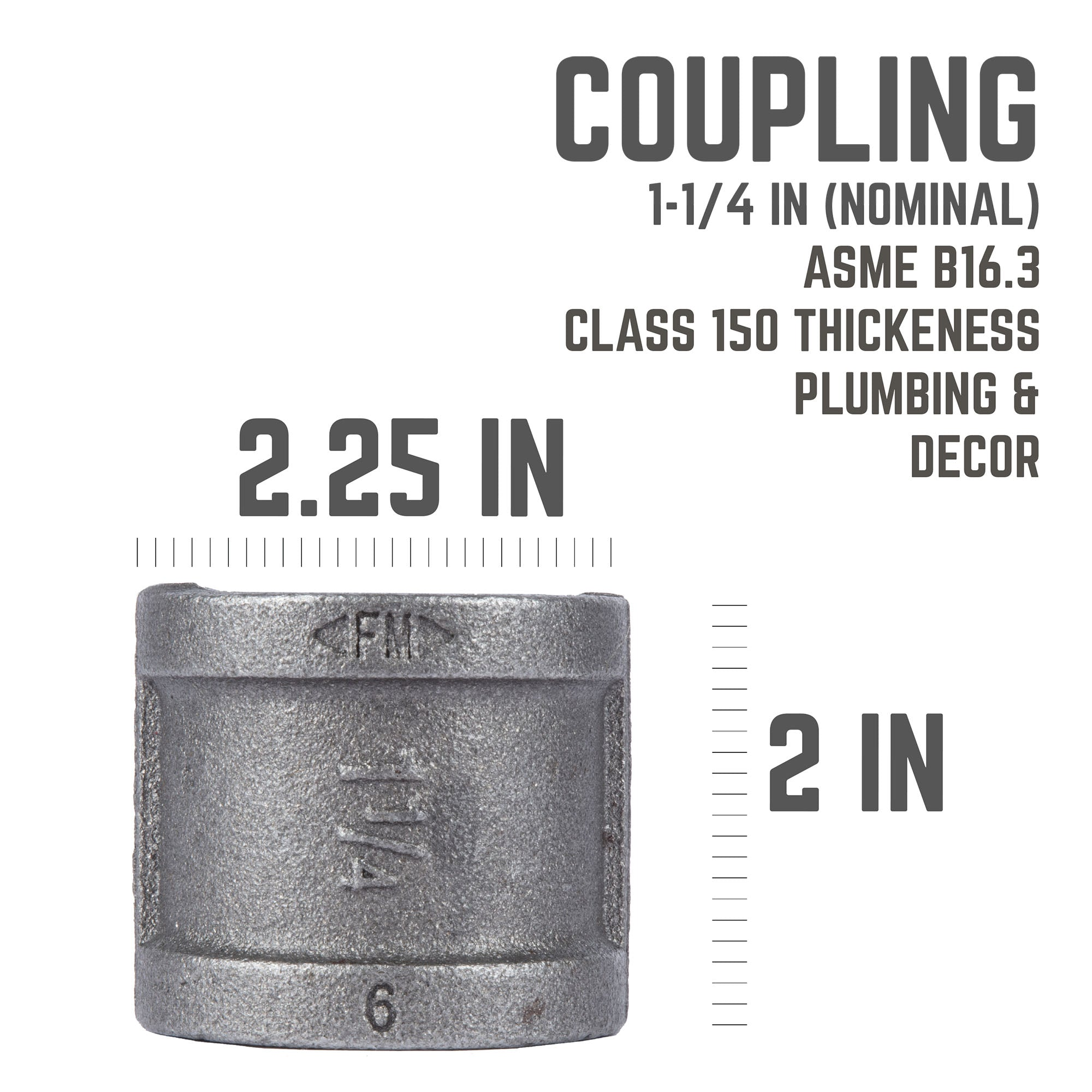 1 1/4 In Black Coupling