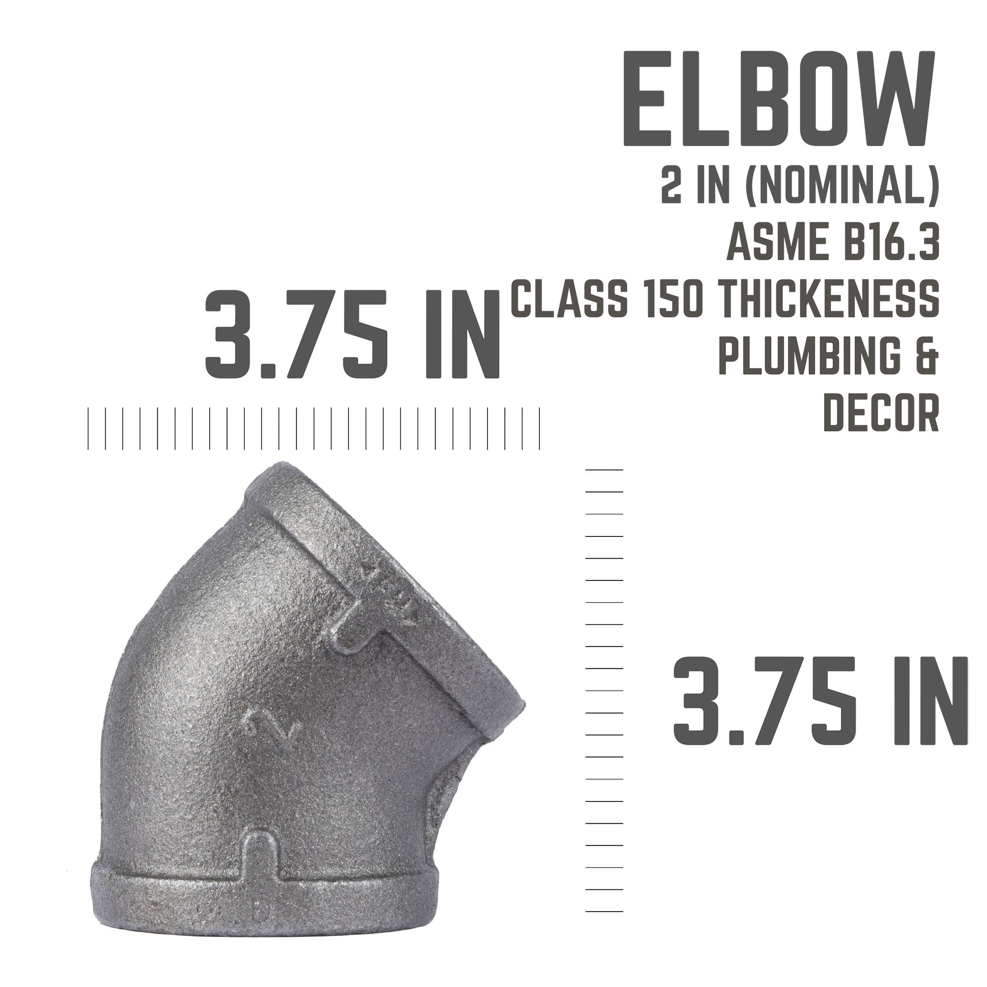 2 In Black 45 Elbow - Pipe Decor