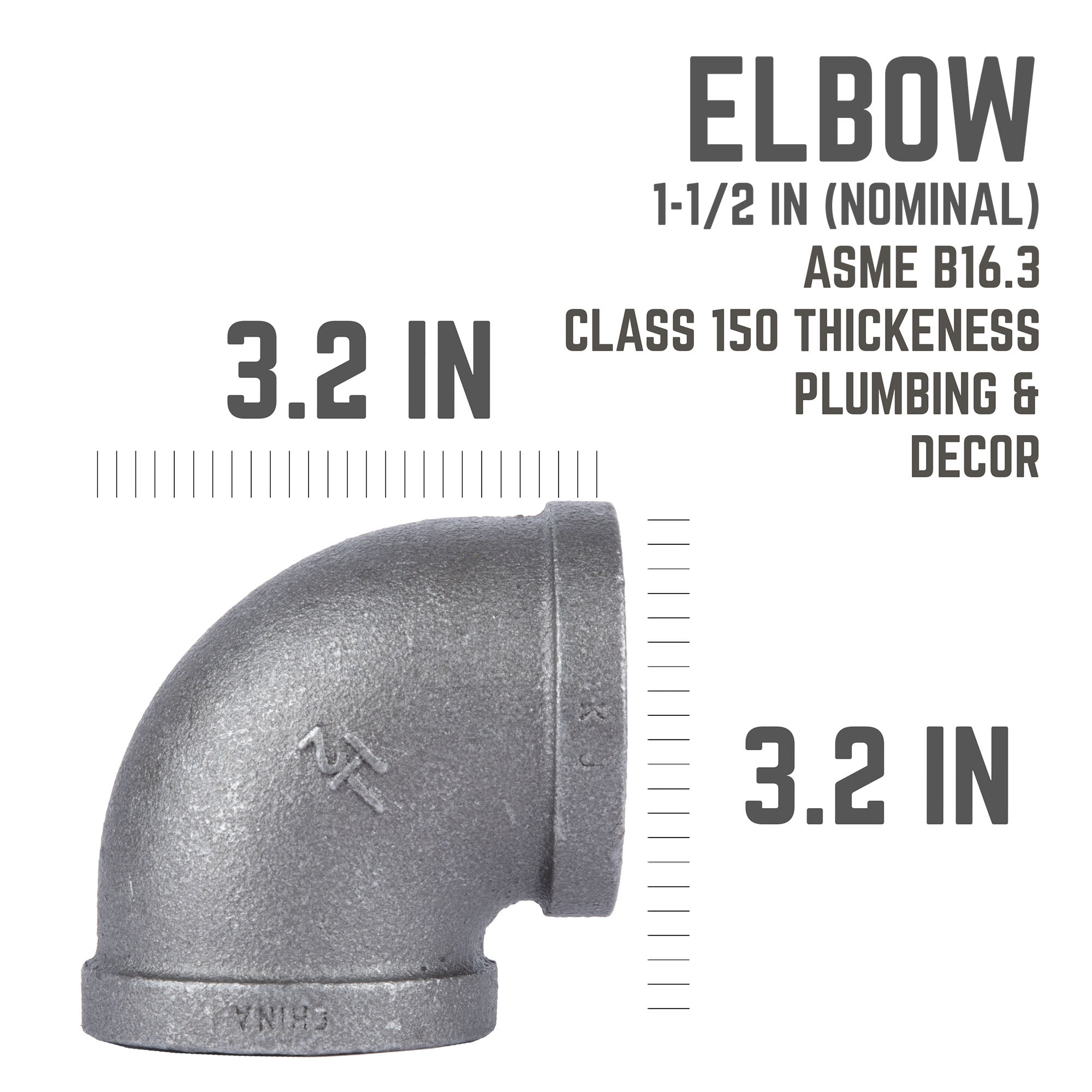 1 1/2 In Black 90  Degree  Elbow - Pipe Decor