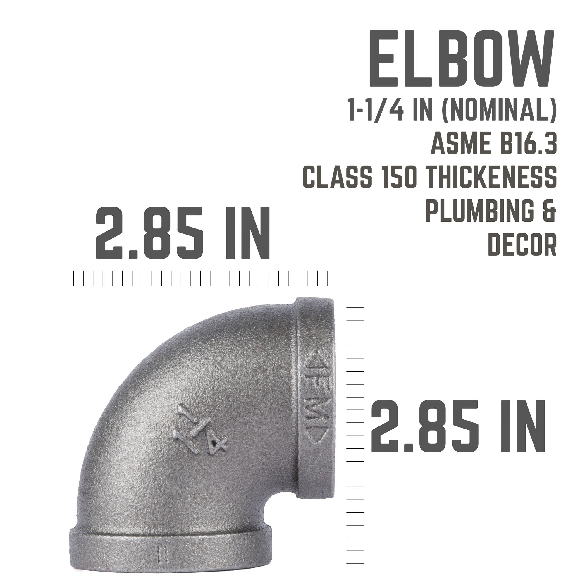 1 1/4 In Black 90 Degree Elbow - Pipe Decor
