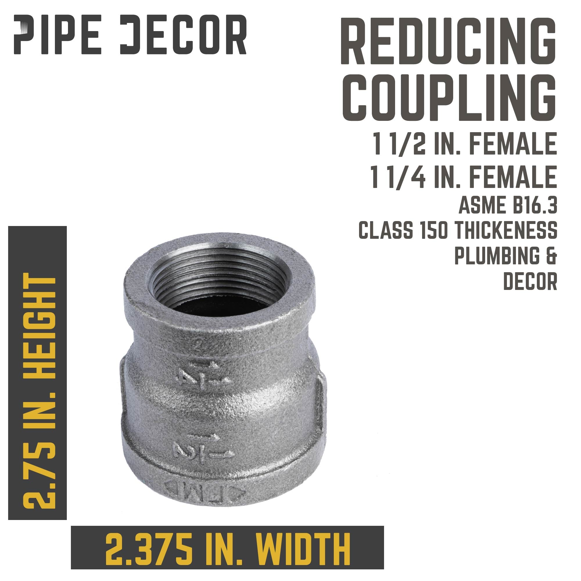 1 1/2 in.  X 11/4 in. Black Reducing Coupling - Pipe Decor