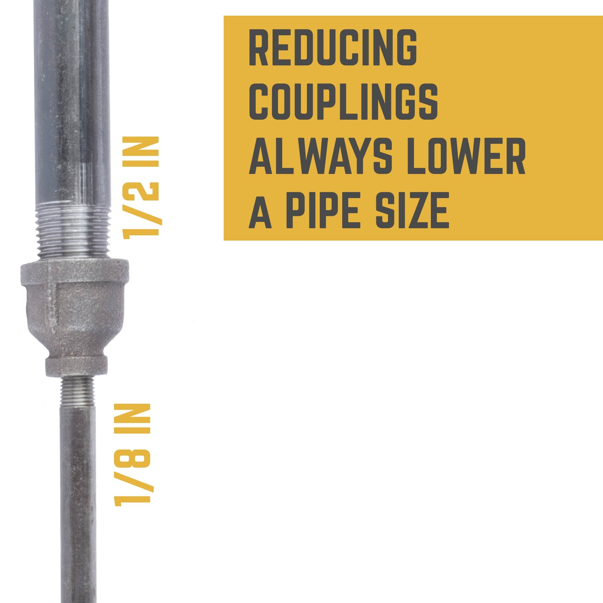 1/2 IN X 1/8 IN REDUCING COUPLING