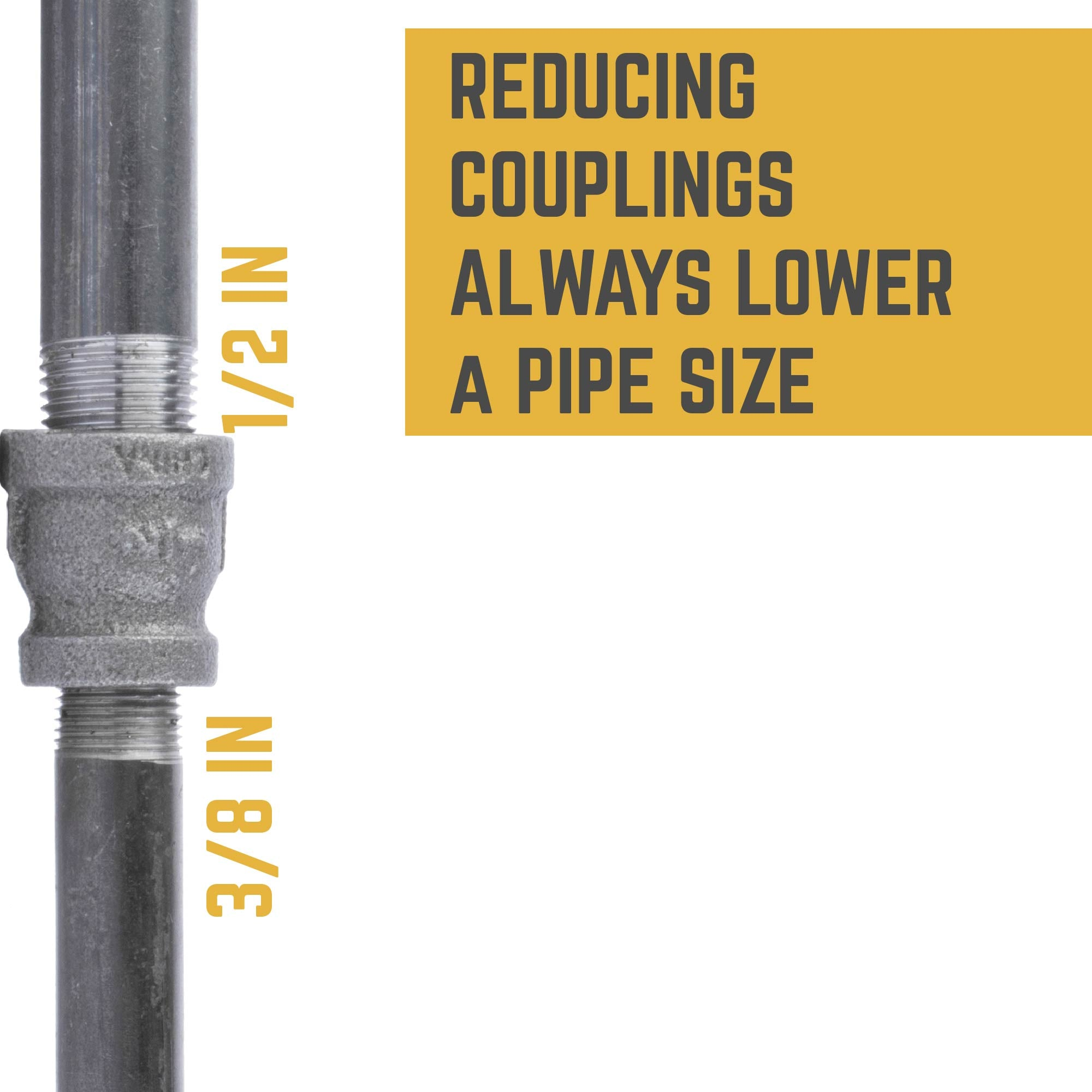 1/2 IN X 3/8 IN REDUCING COUPLING
