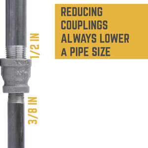 1/2 in. X 3/8 in. Reducing Coupling - Pipe Decor