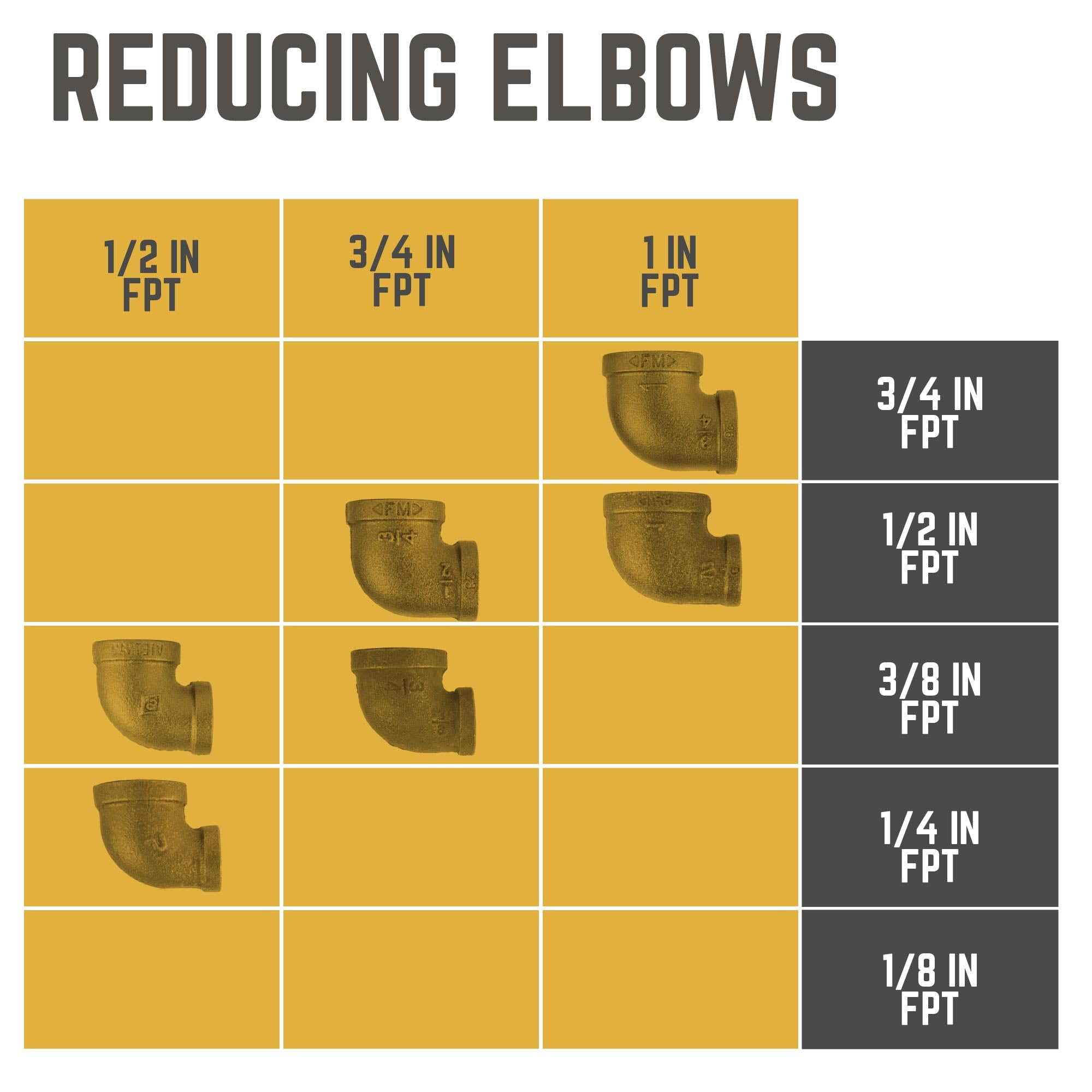 1 IN X 1/2 IN REDUCING ELBOW