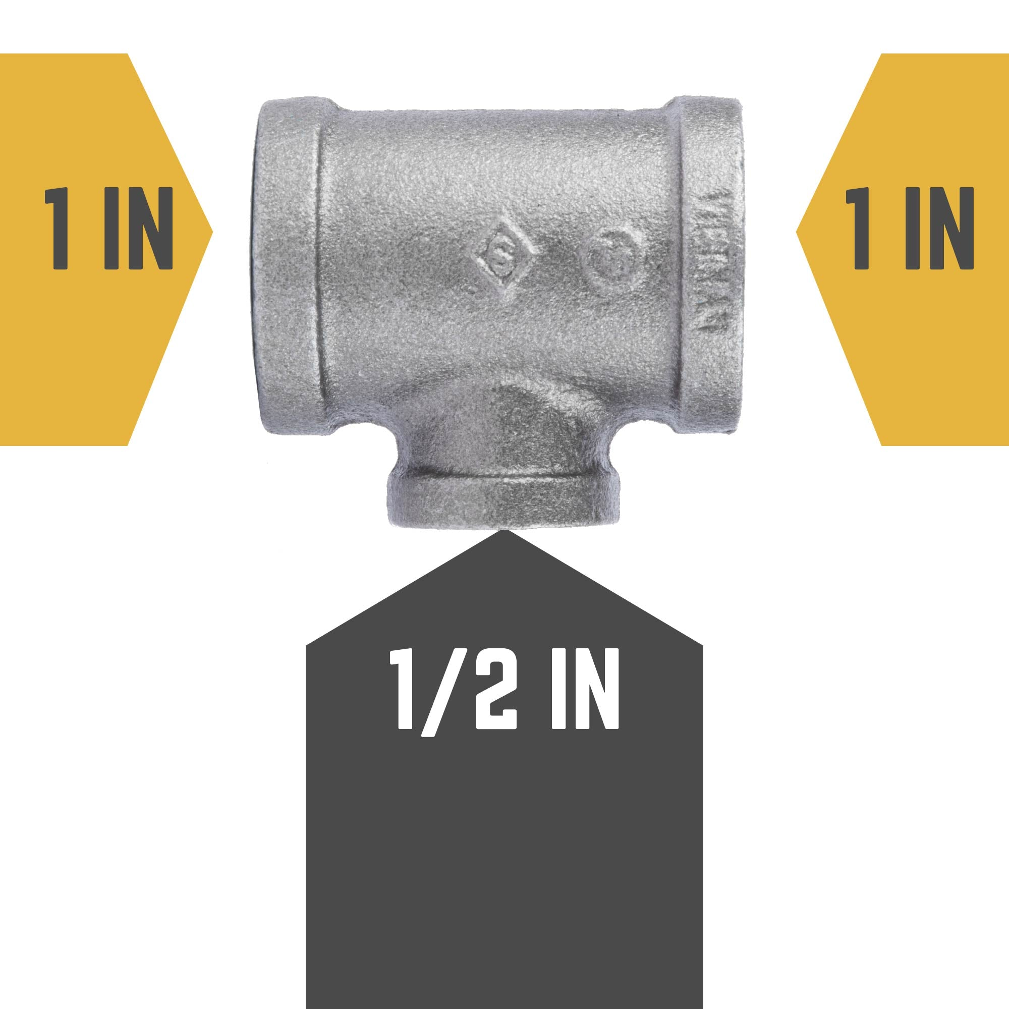1 in. X 1 in. X 1/2 in. Reducing Tee - Pipe Decor