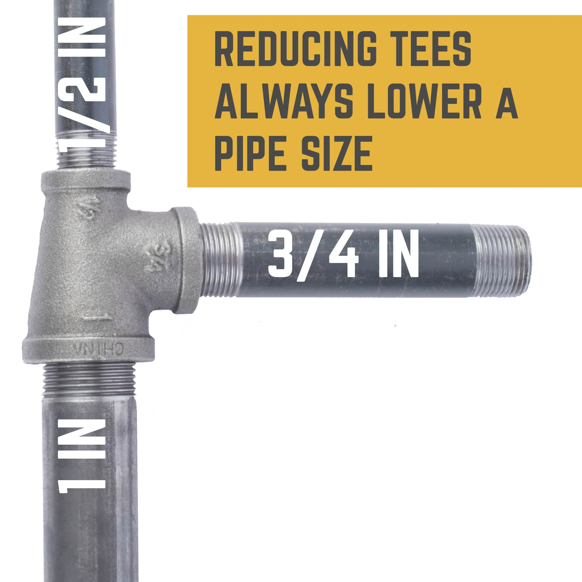 1 in. X 1/2 in. X 3/4 in. Reducing Tee - Pipe Decor