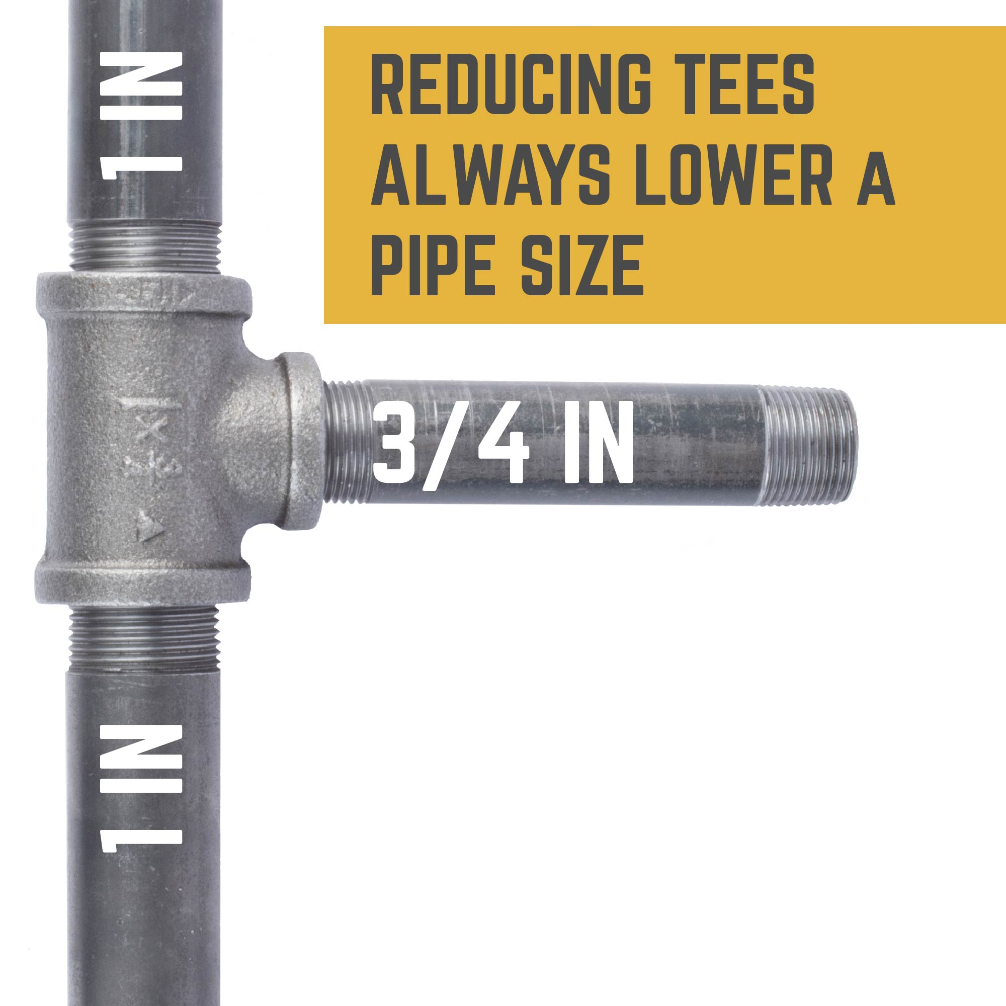 1 IN X 1 IN X 3/4 IN REDUCING TEE