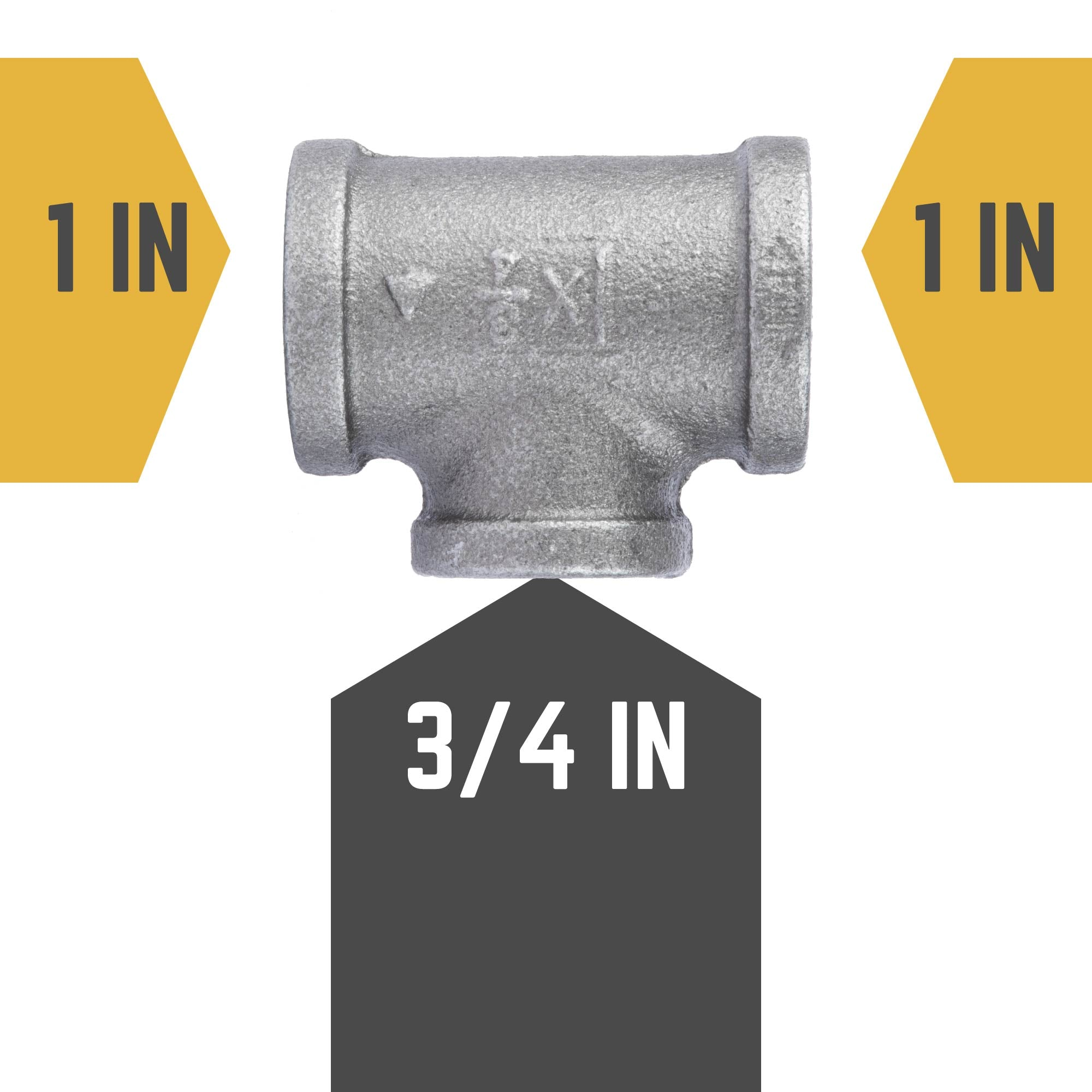 1 in. X 1 in. X 3/4 in. Reducing Tee - Pipe Decor